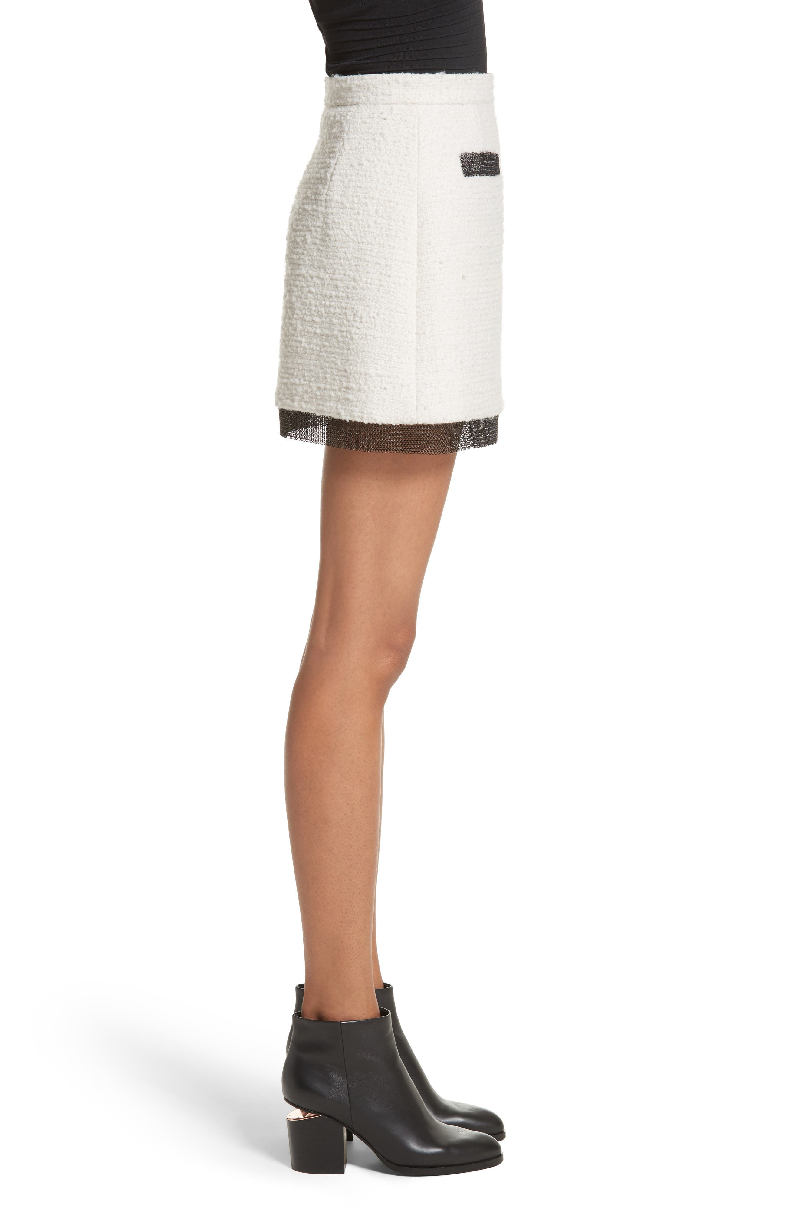 Chain Mail Trim Tweed Miniskirt,                             Alternate thumbnail 3, color,                             Ivory