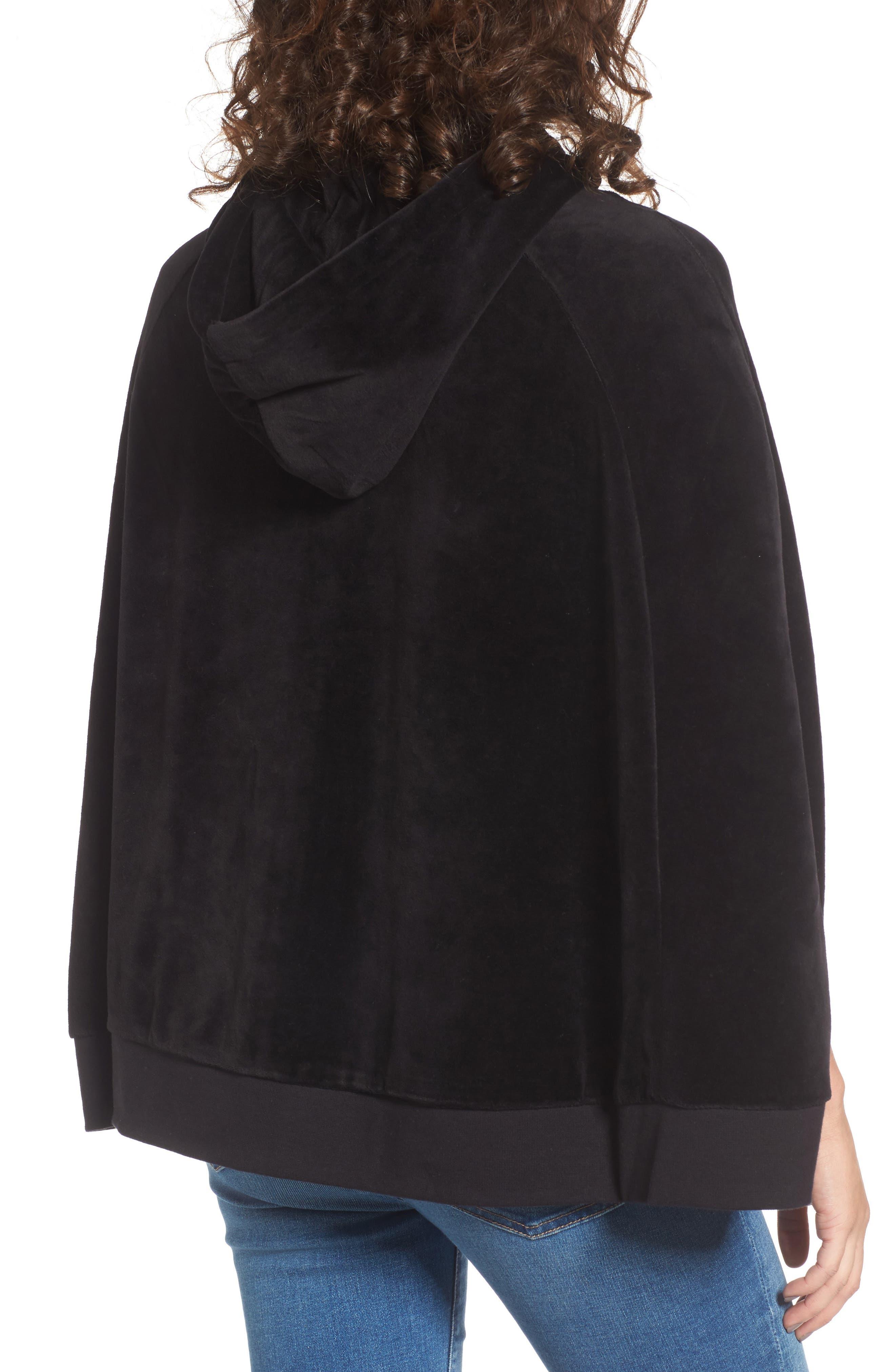 Velour Cape Jacket,                             Alternate thumbnail 2, color,                             Pitch Black