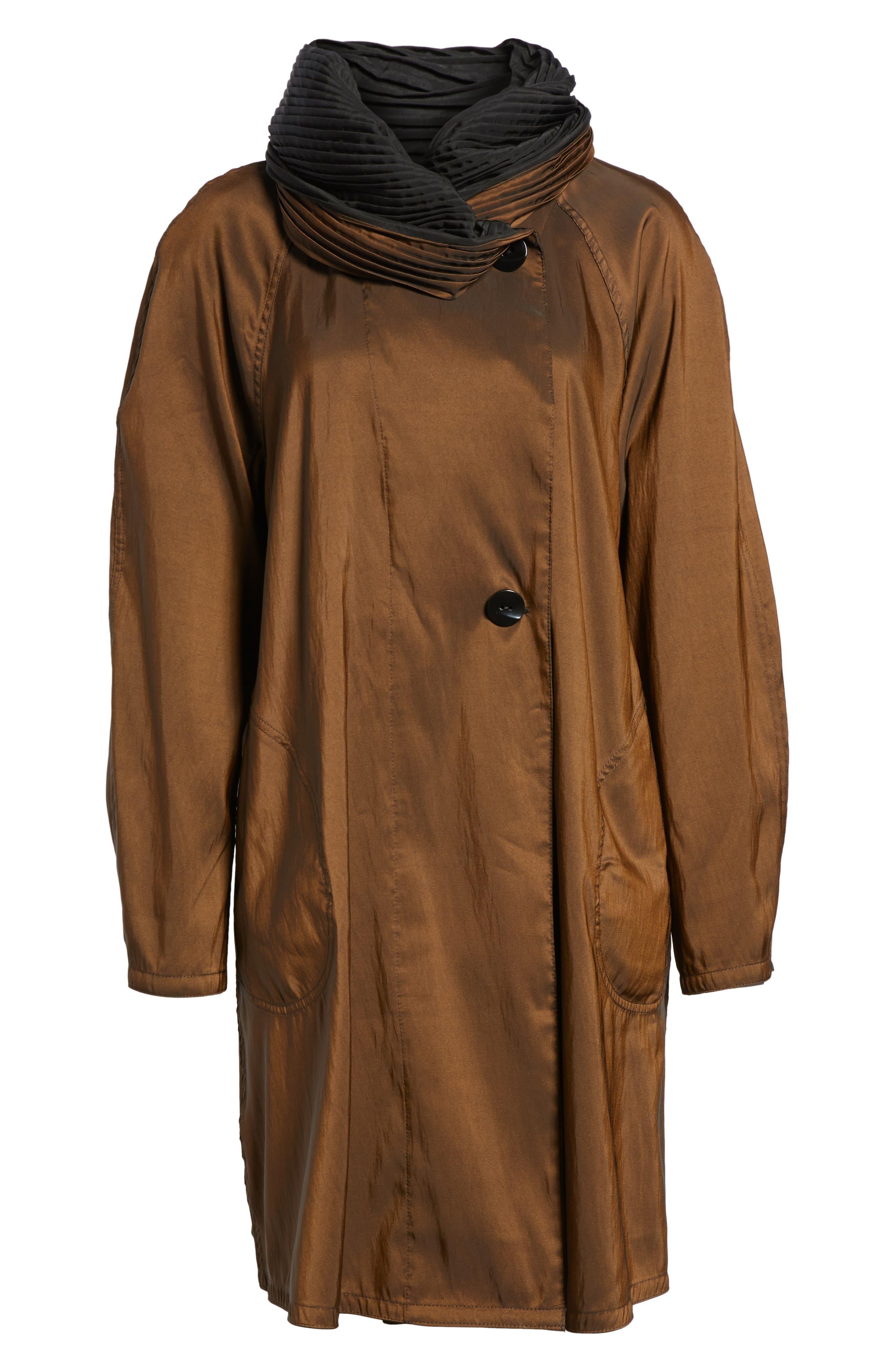 Reversible Pleat Hood Packable Travel Coat,                         Main,                         color, Bronze/ Black