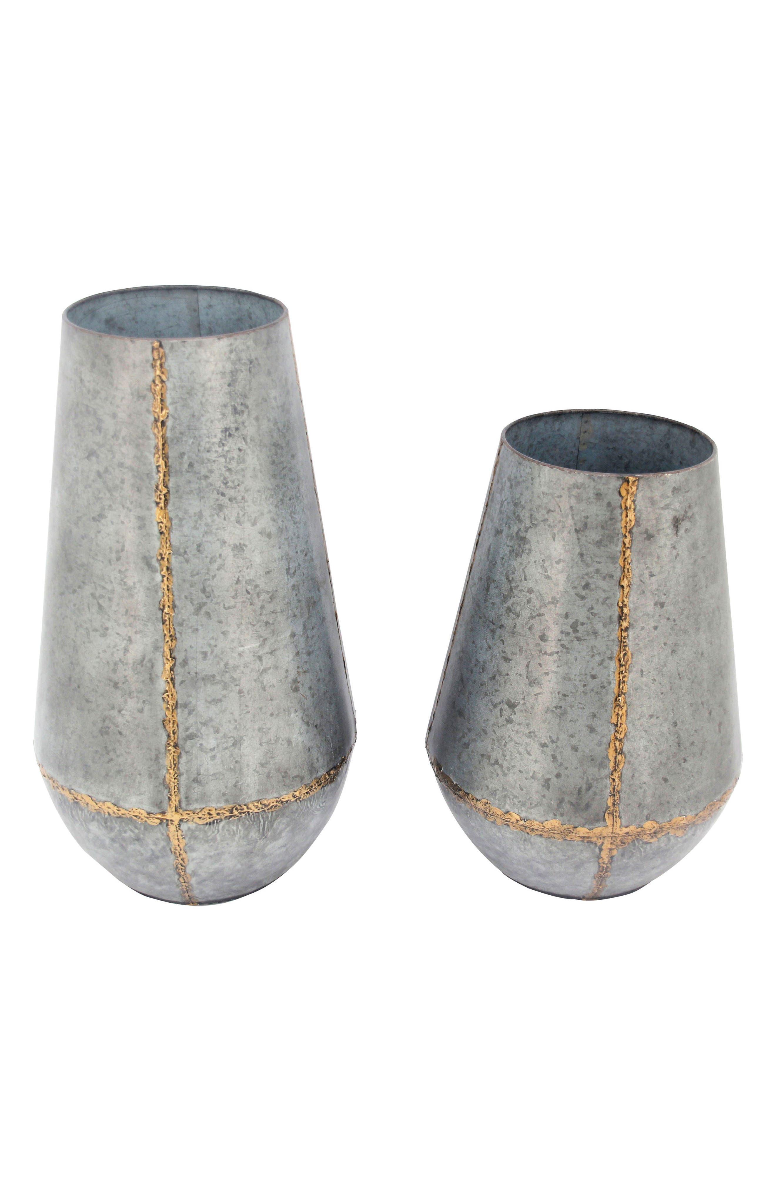Foreside Set of 2 Soldered Metal Vases