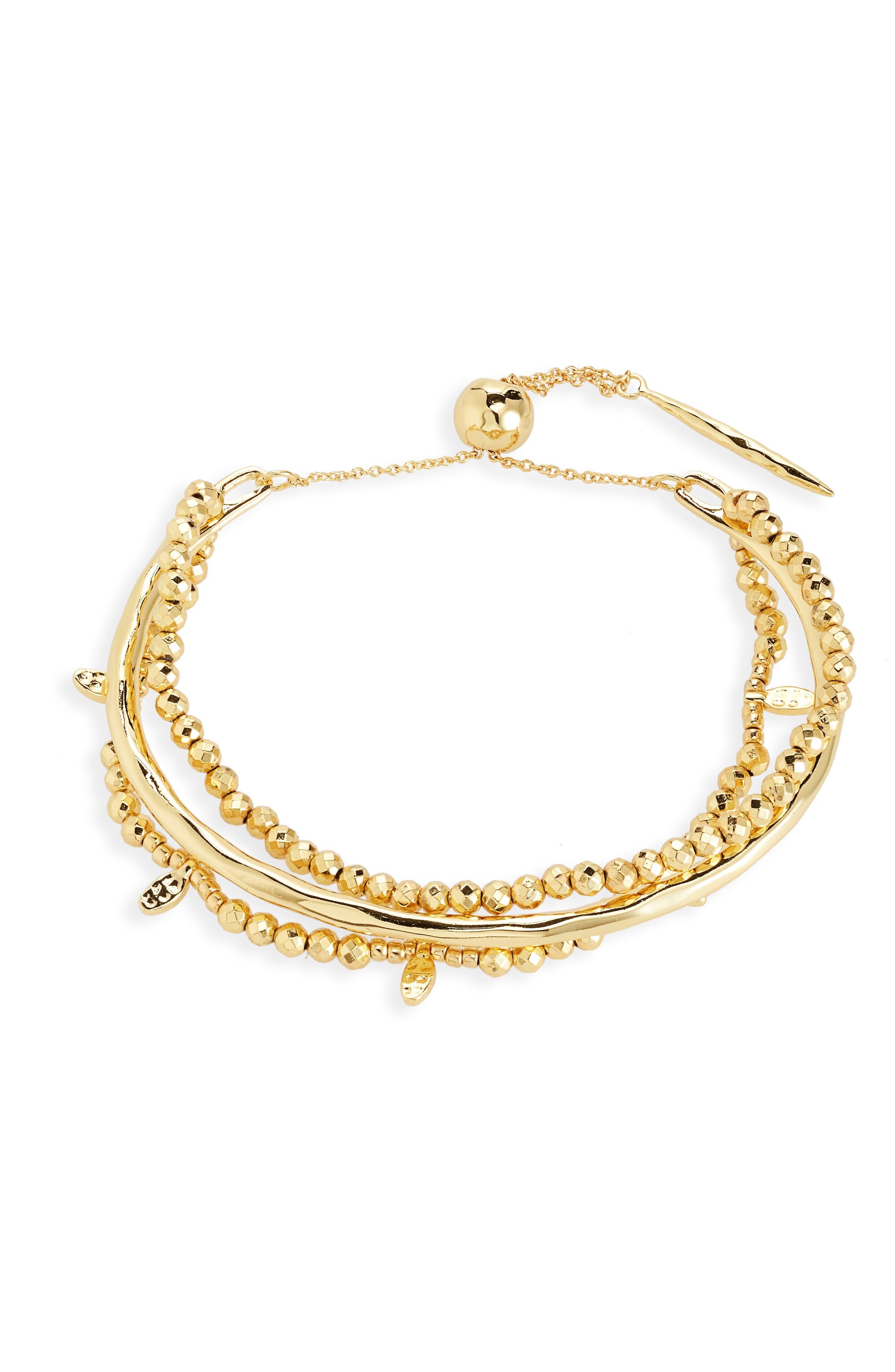 Leucadia Beaded Bracelet,                             Main thumbnail 1, color,                             Gold