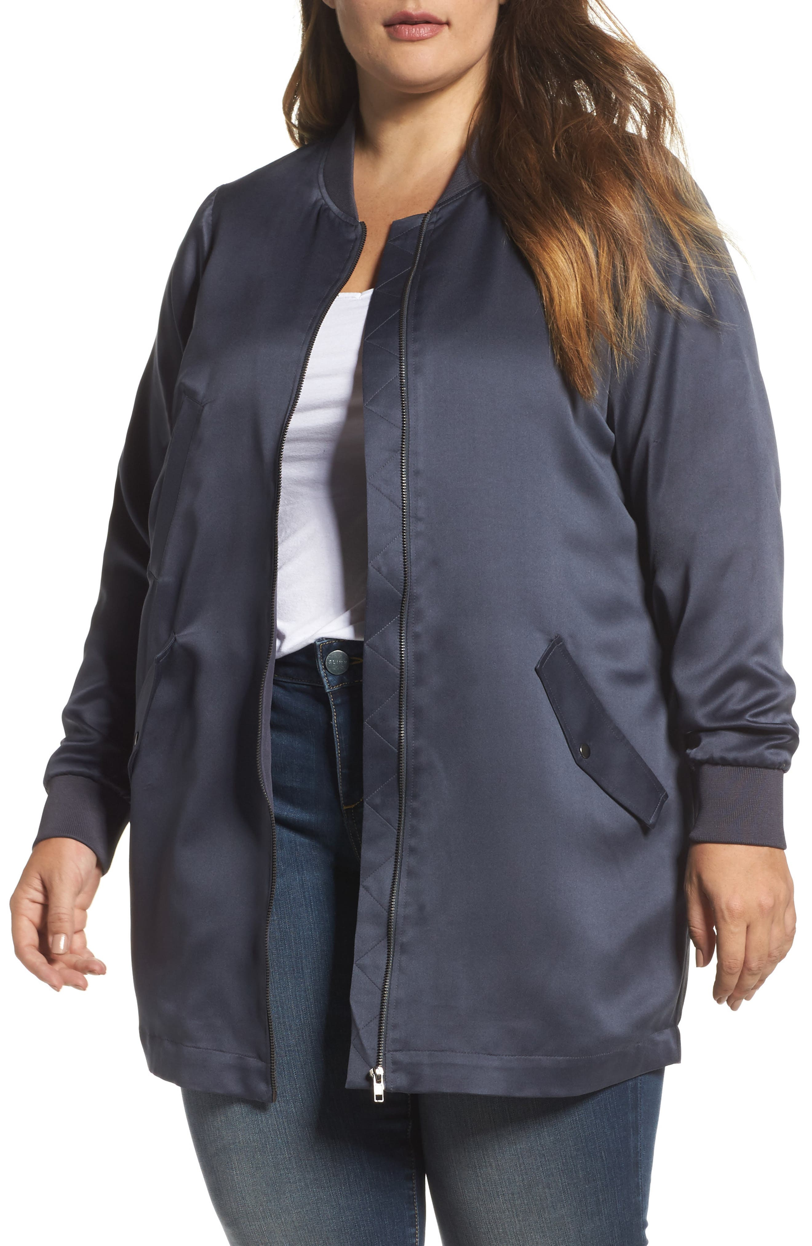 Limba Tunic Length Bomber Jacket,                         Main,                         color, Ombre Blue