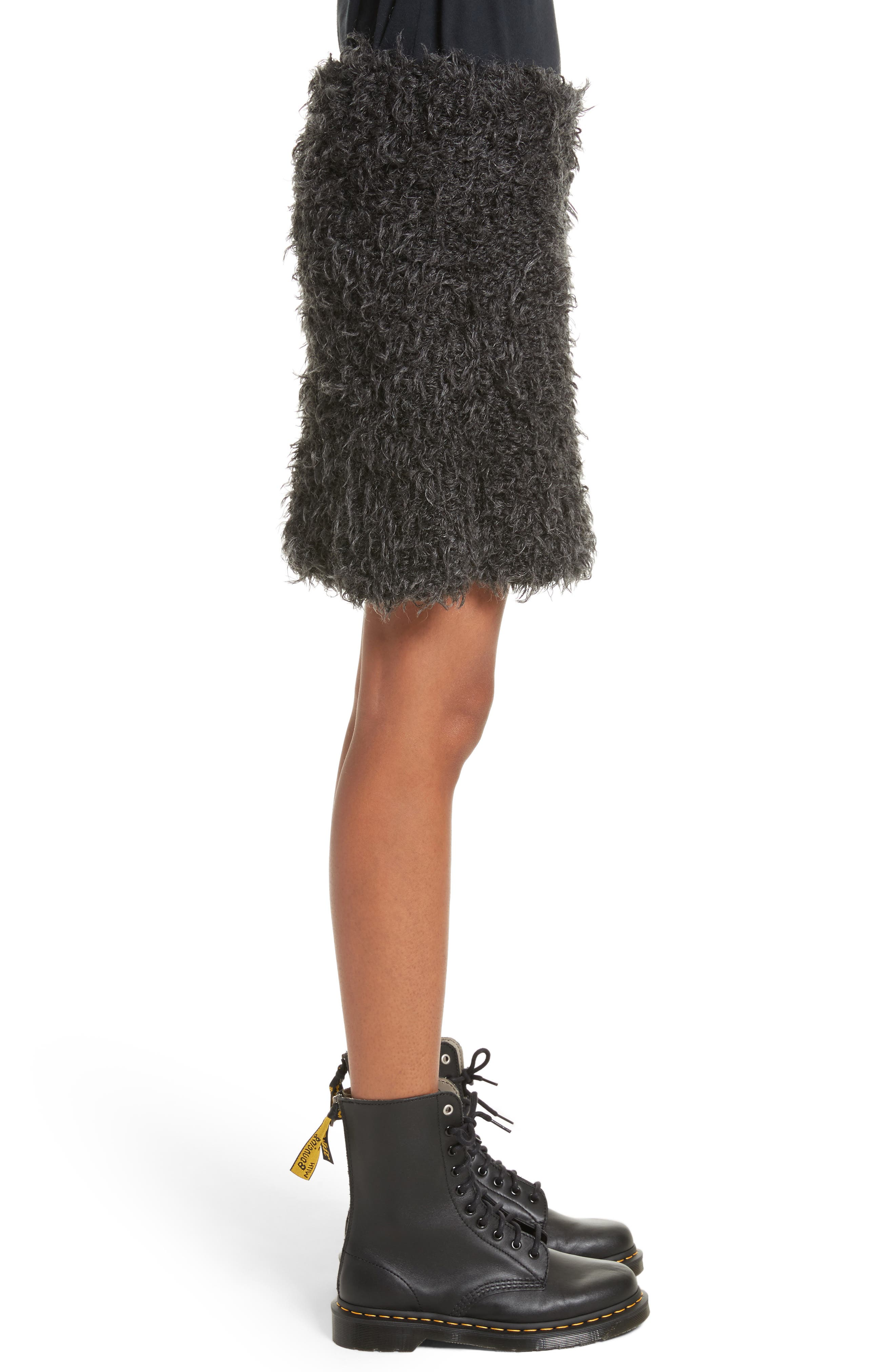 Fuzzy Miniskirt,                             Alternate thumbnail 3, color,                             Charcoal