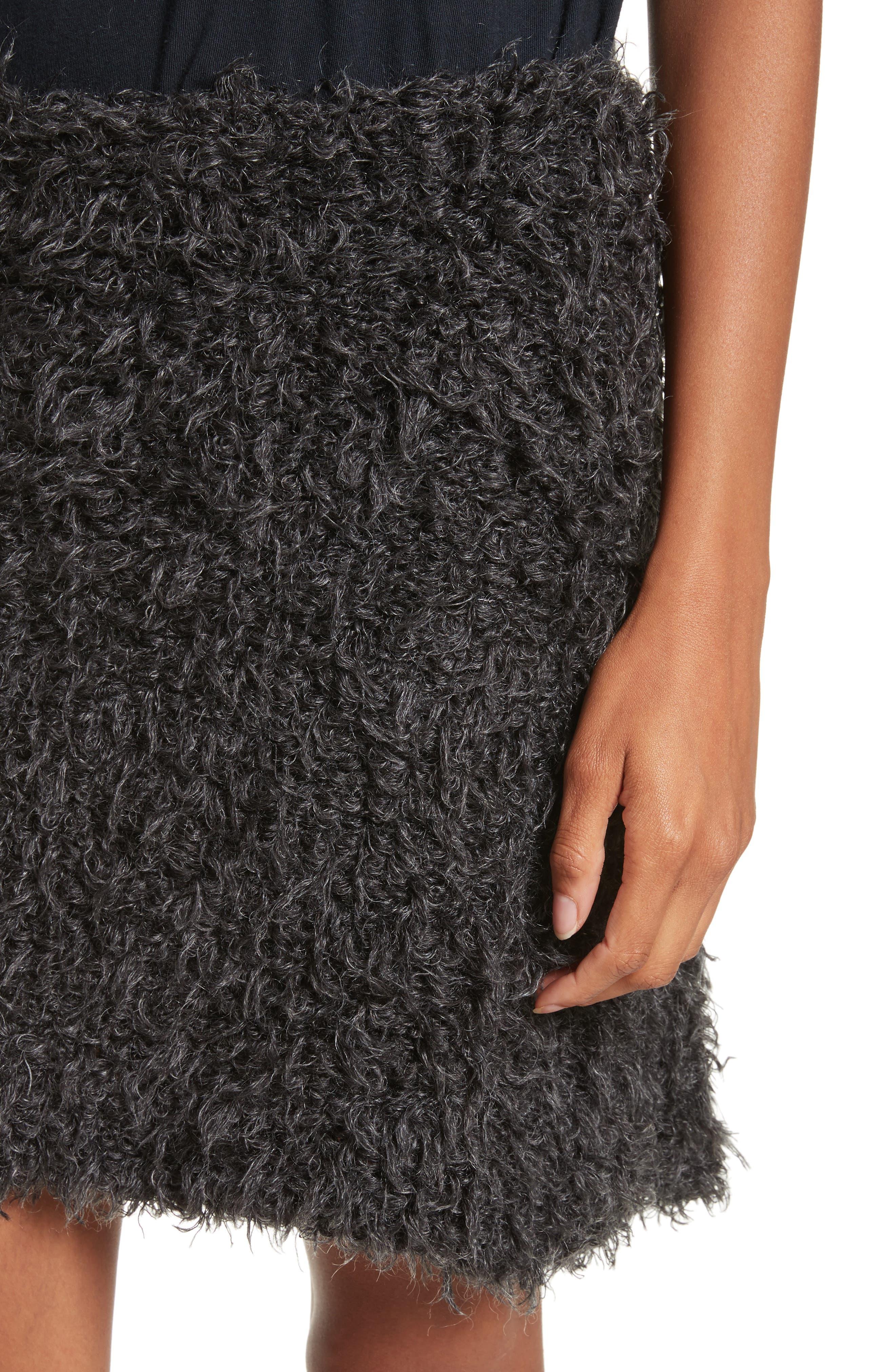 Fuzzy Miniskirt,                             Alternate thumbnail 4, color,                             Charcoal