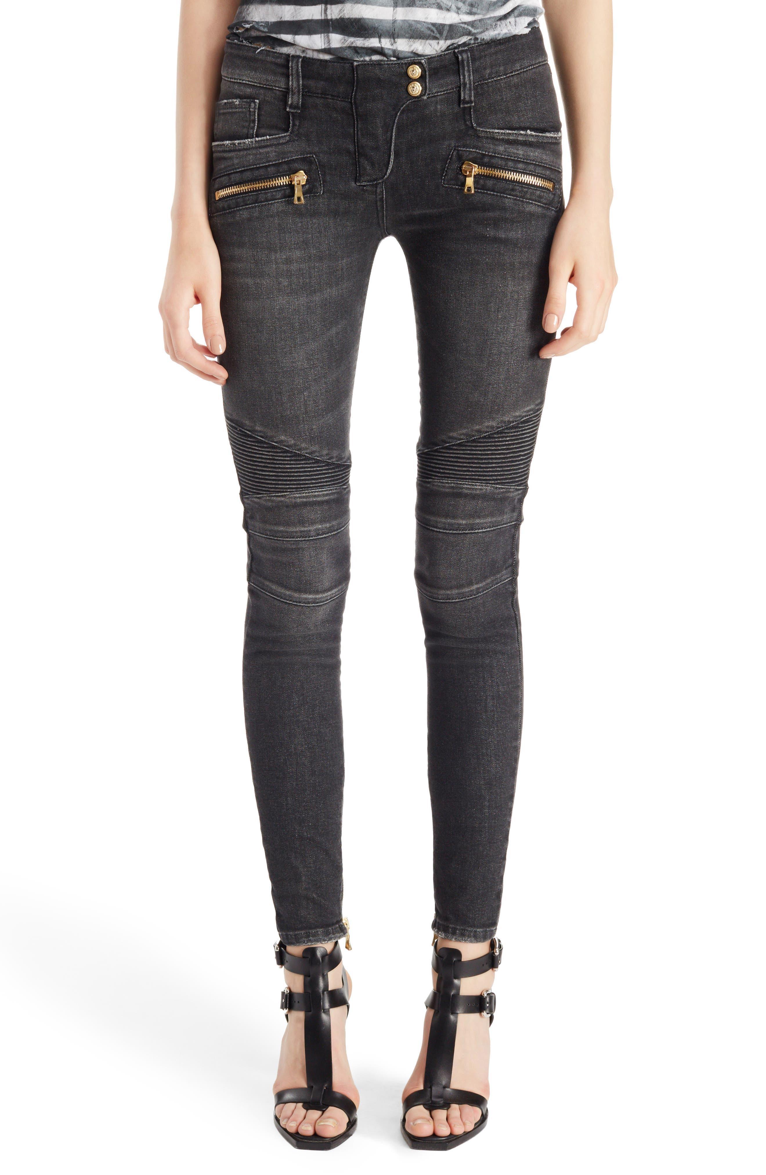 Balmain Washed Moto Skinny Jeans