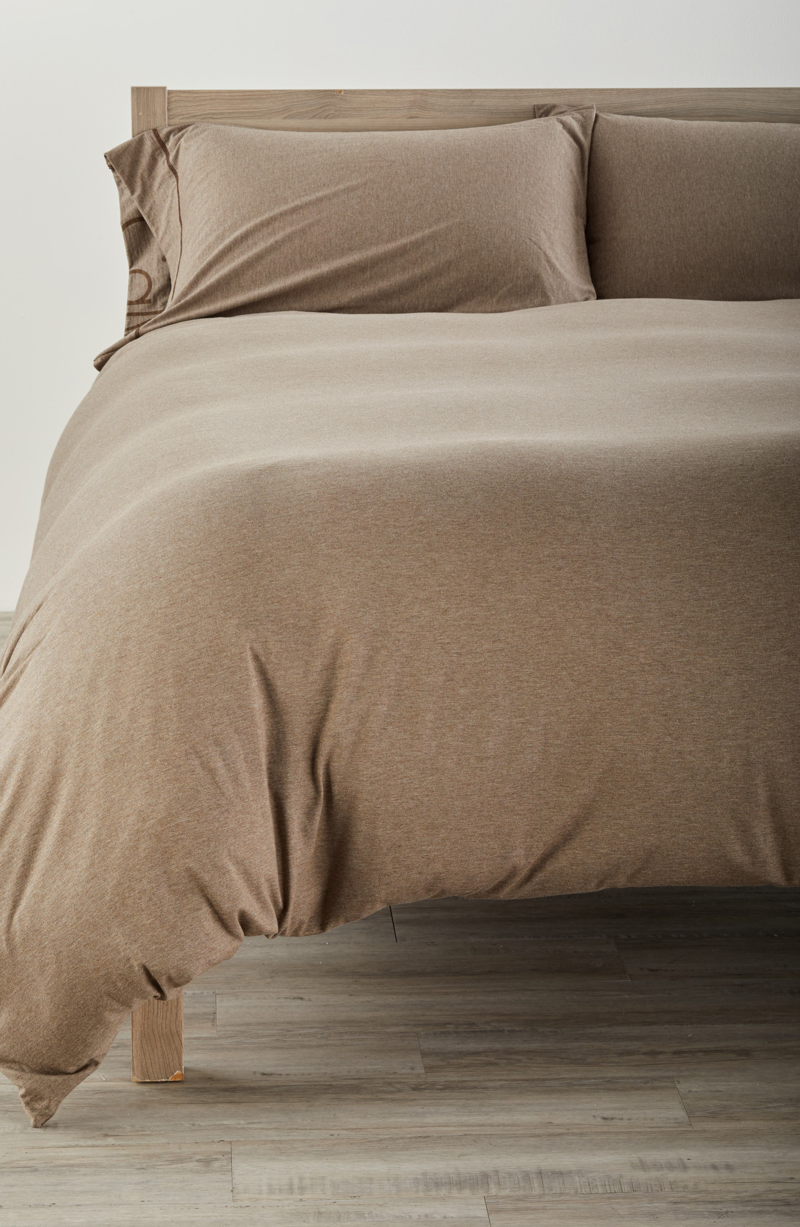 Cotton & Modal Jersey Duvet Cover,                         Main,                         color, Fawn