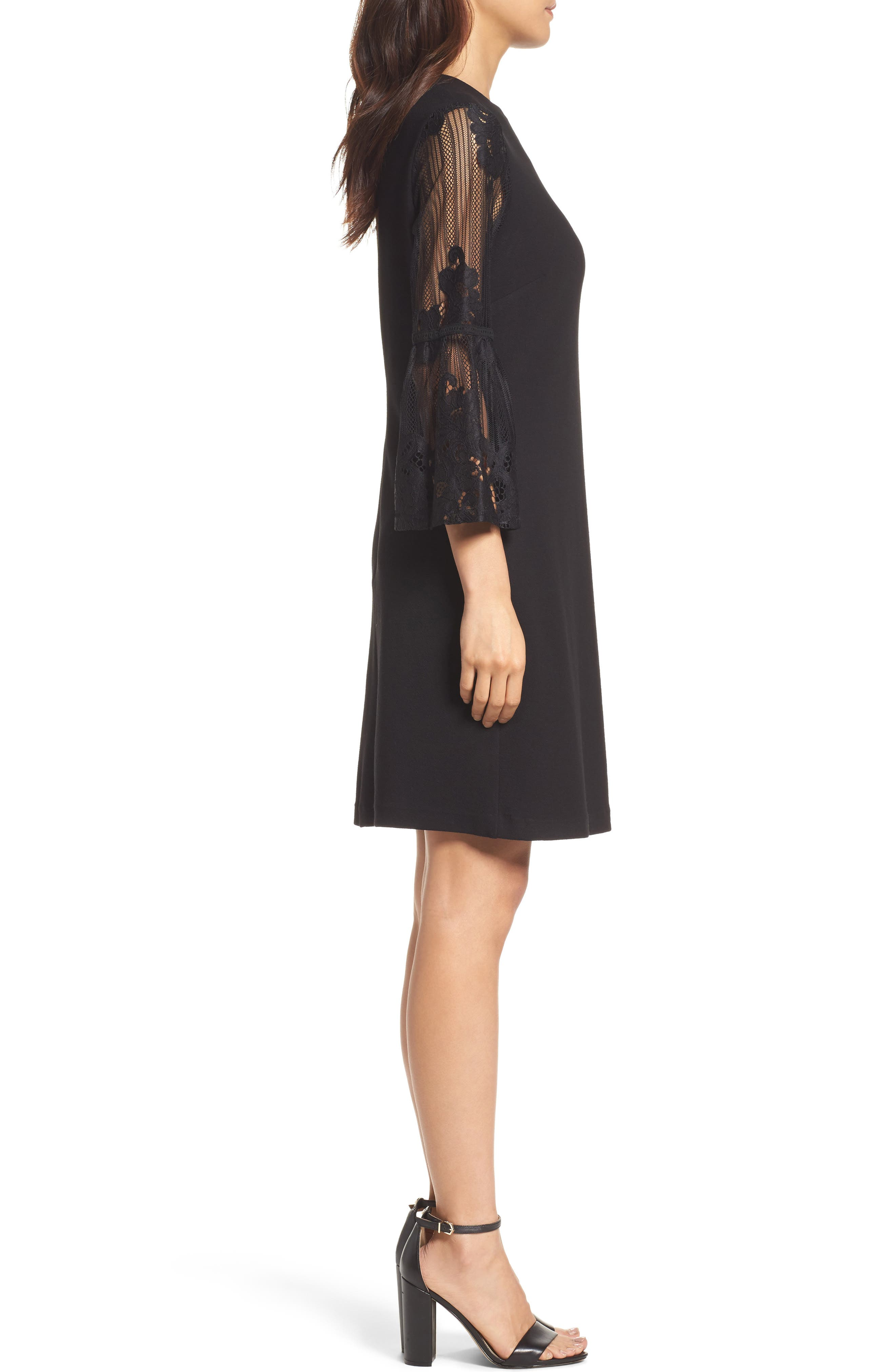 Lace Bell Sleeve Shift Dress,                             Alternate thumbnail 3, color,                             Black