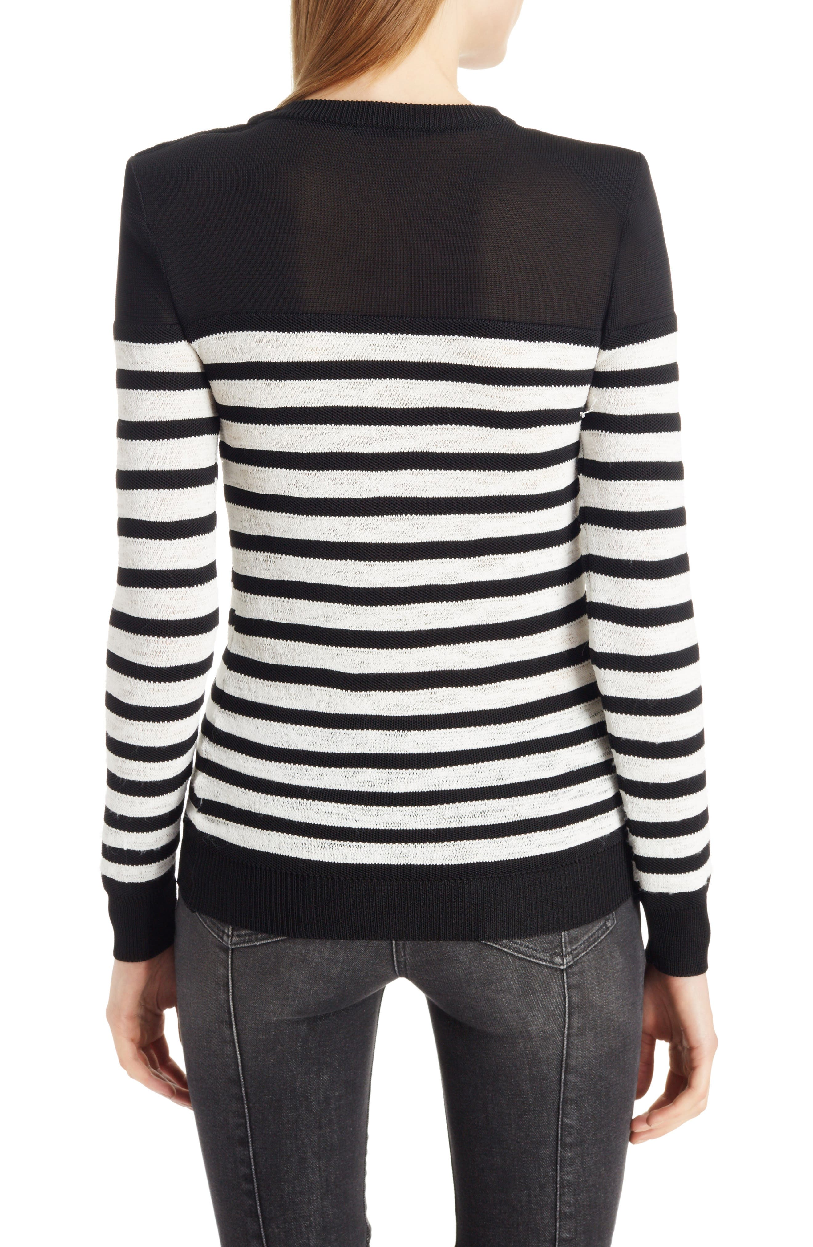 Marine Stripe Knit Sweater,                             Alternate thumbnail 2, color,                             Black And White