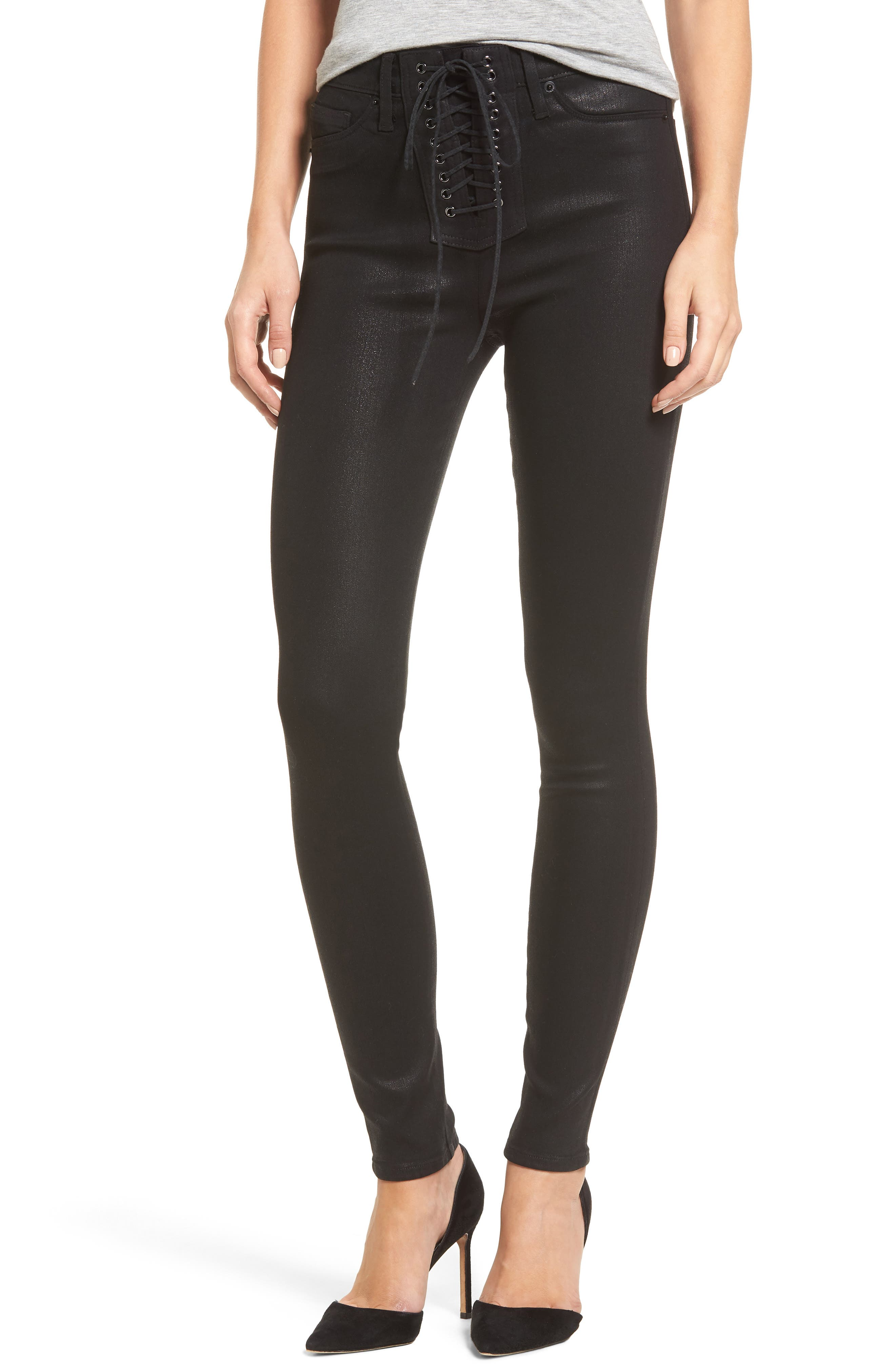 Main Image - Hudson Jeans Bullocks High Waist Lace-Up Skinny Jeans (Black Coated)
