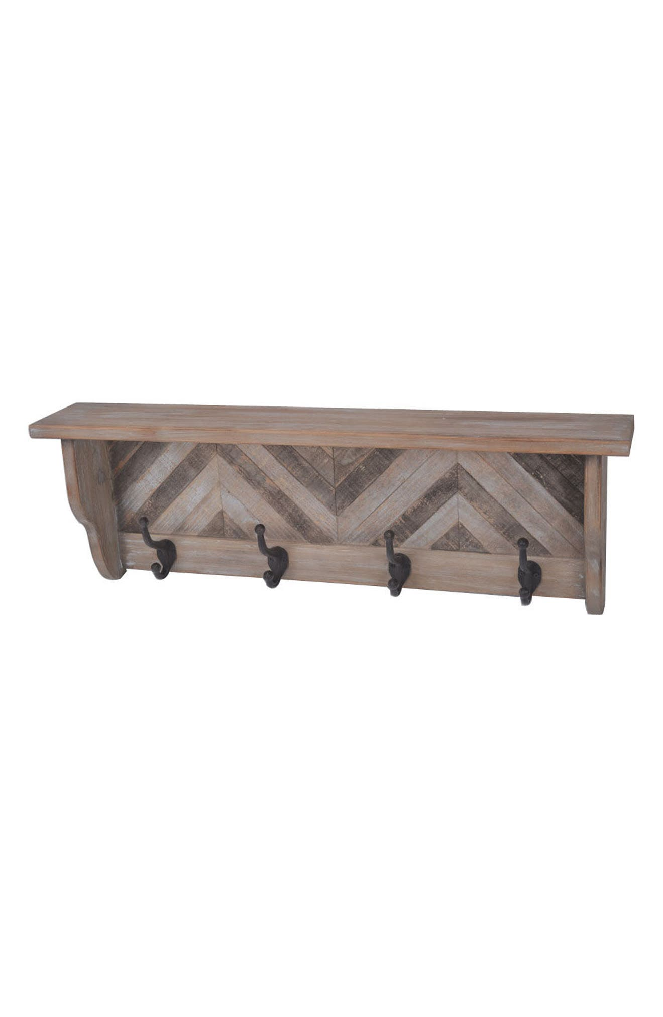 Wooden Wall Shelf with Decorative Hooks,                         Main,                         color, Brown