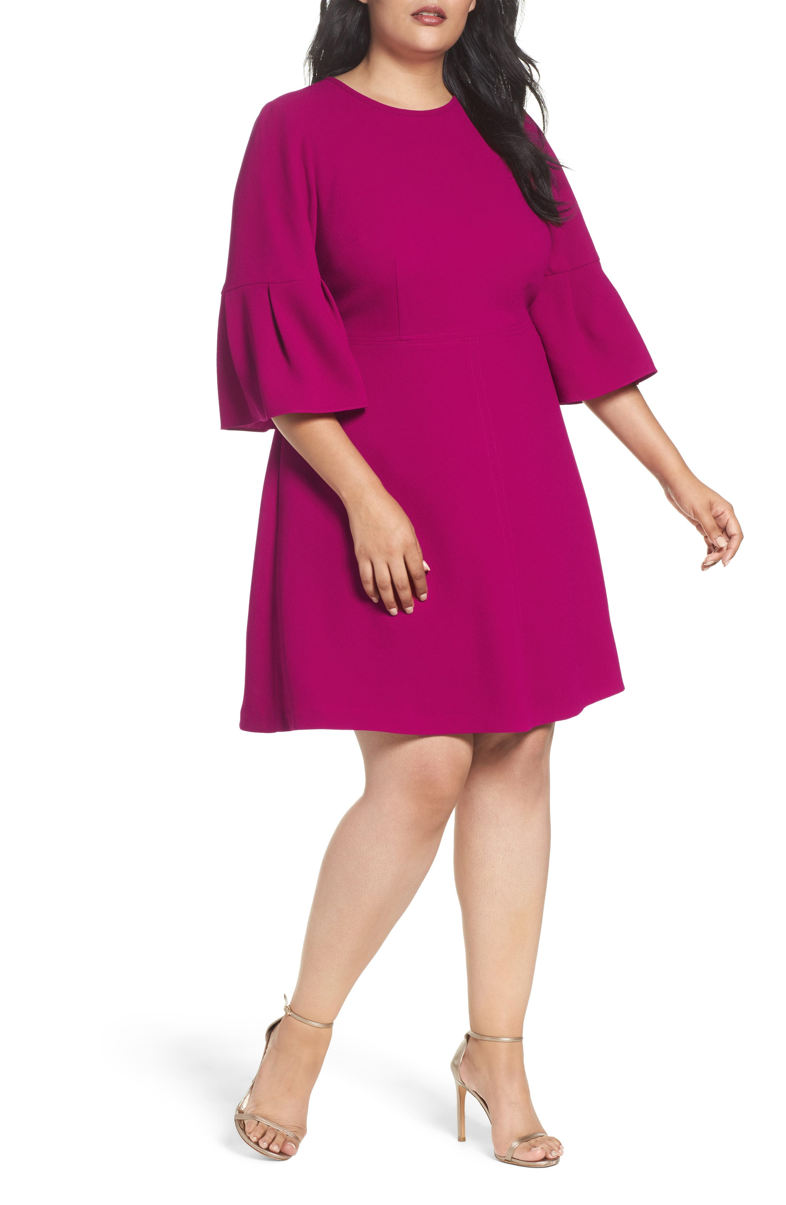 Bell Sleeve Fit & Flare Dress,                         Main,                         color, Magenta