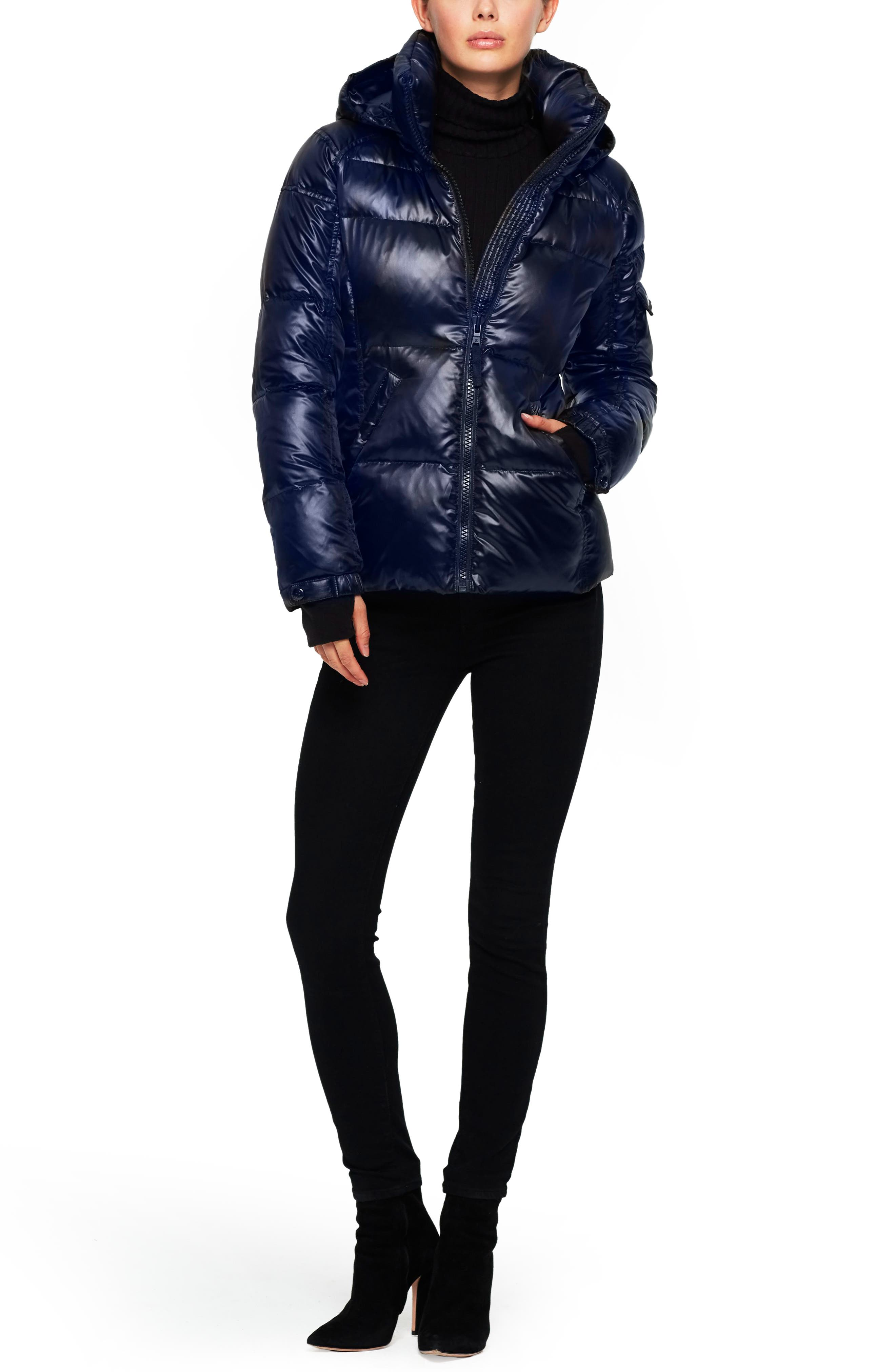 SAM S13/NYC Kylie Metallic Quilted Jacket with Removable Hood,                             Main thumbnail 1, color,                             Midnight