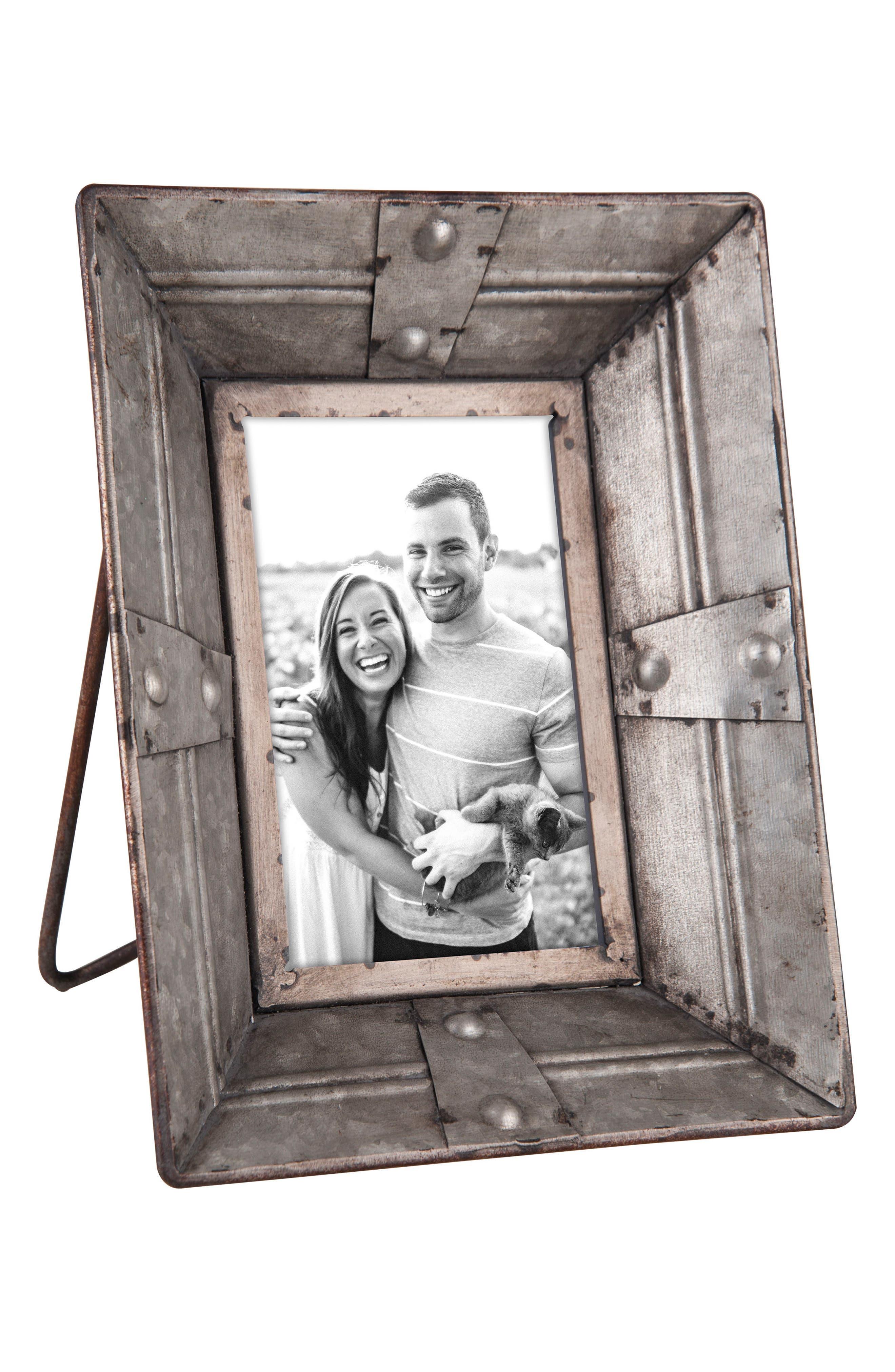 Rivet Picture Frame,                             Main thumbnail 1, color,                             Metal/ Glass