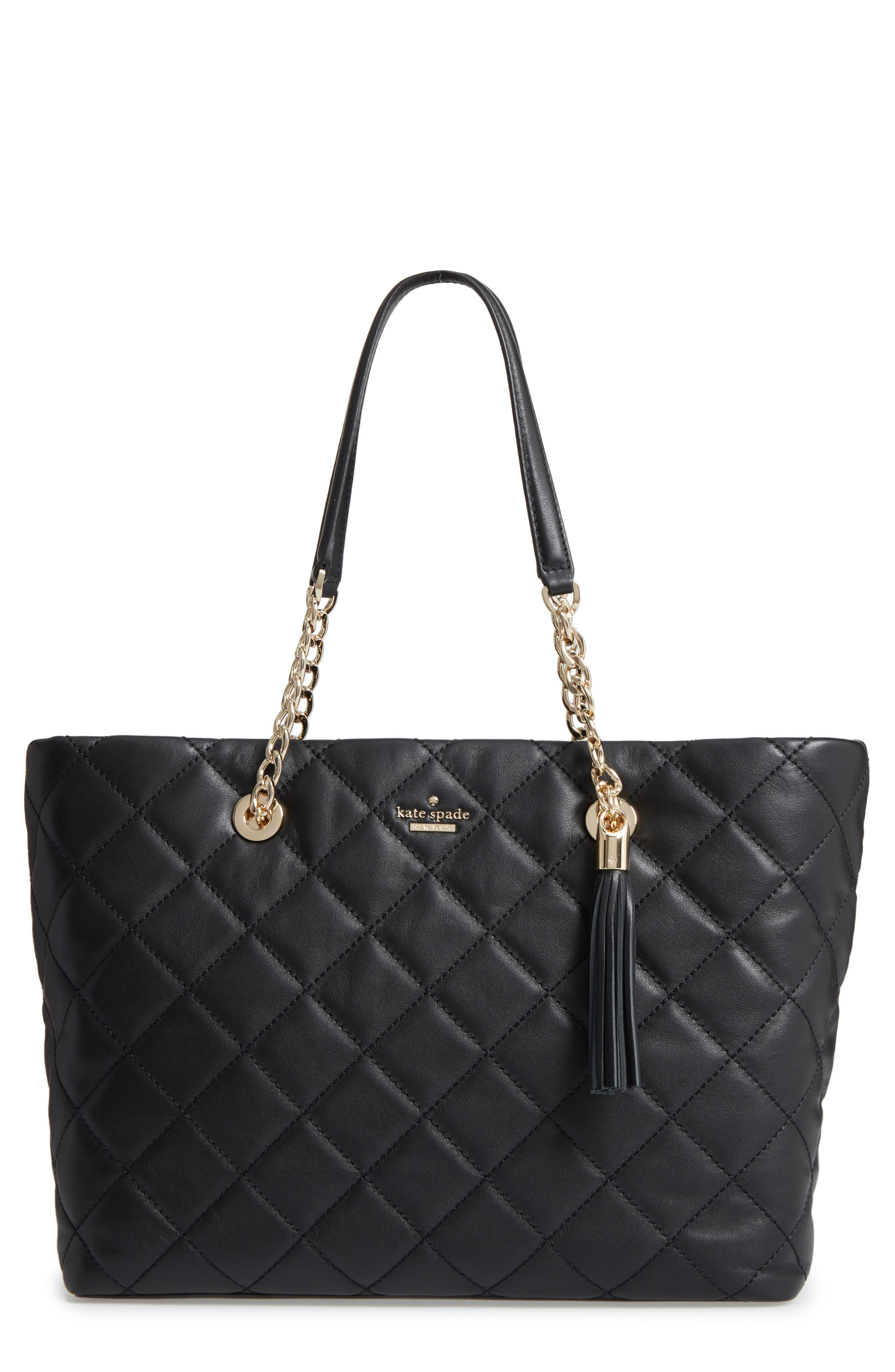 emerson place - priya quilted leather tote,                         Main,                         color, Black