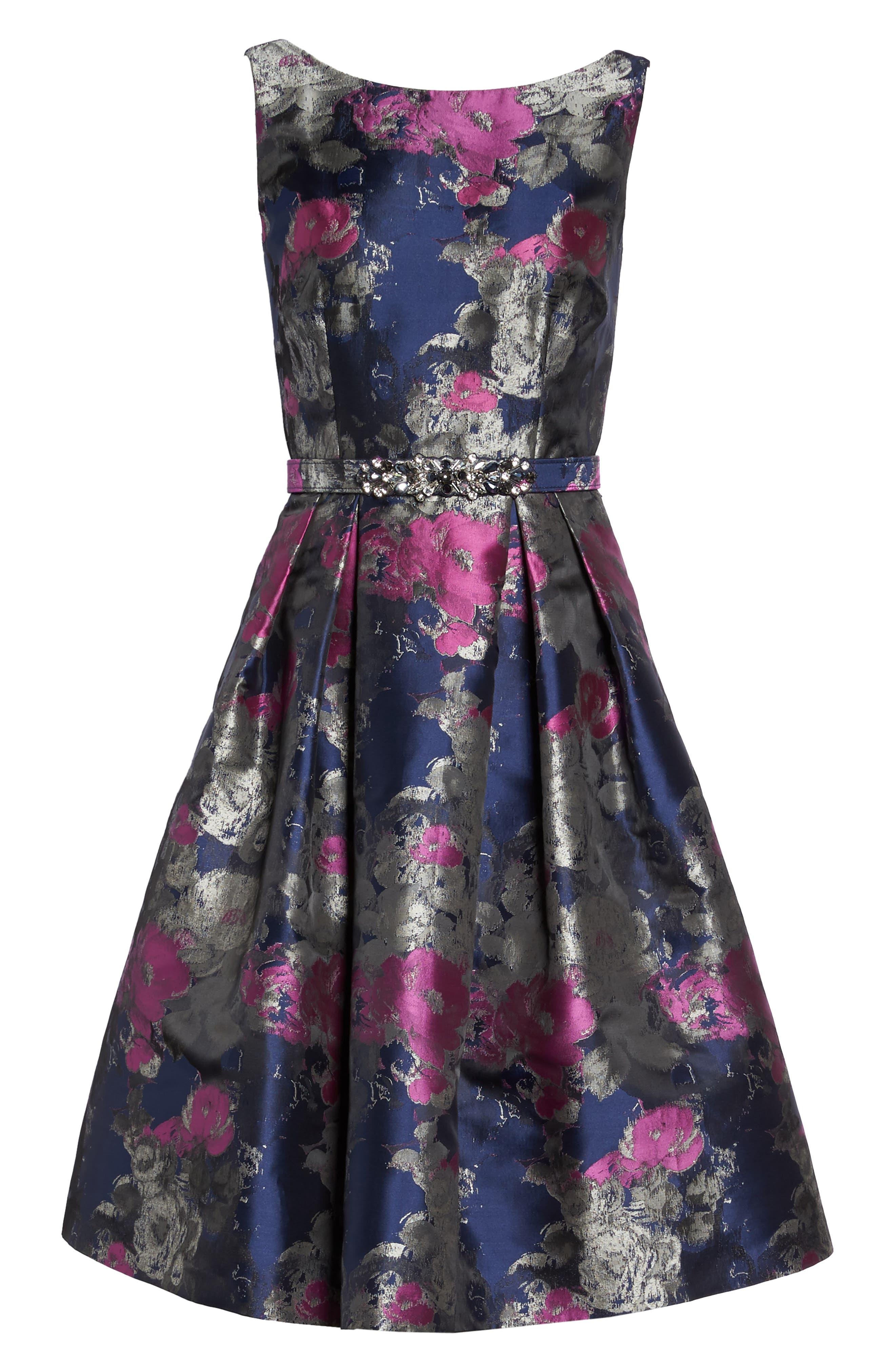 Jacquard Fit & Flare Dress,                             Alternate thumbnail 6, color,                             Navy/ Malbec
