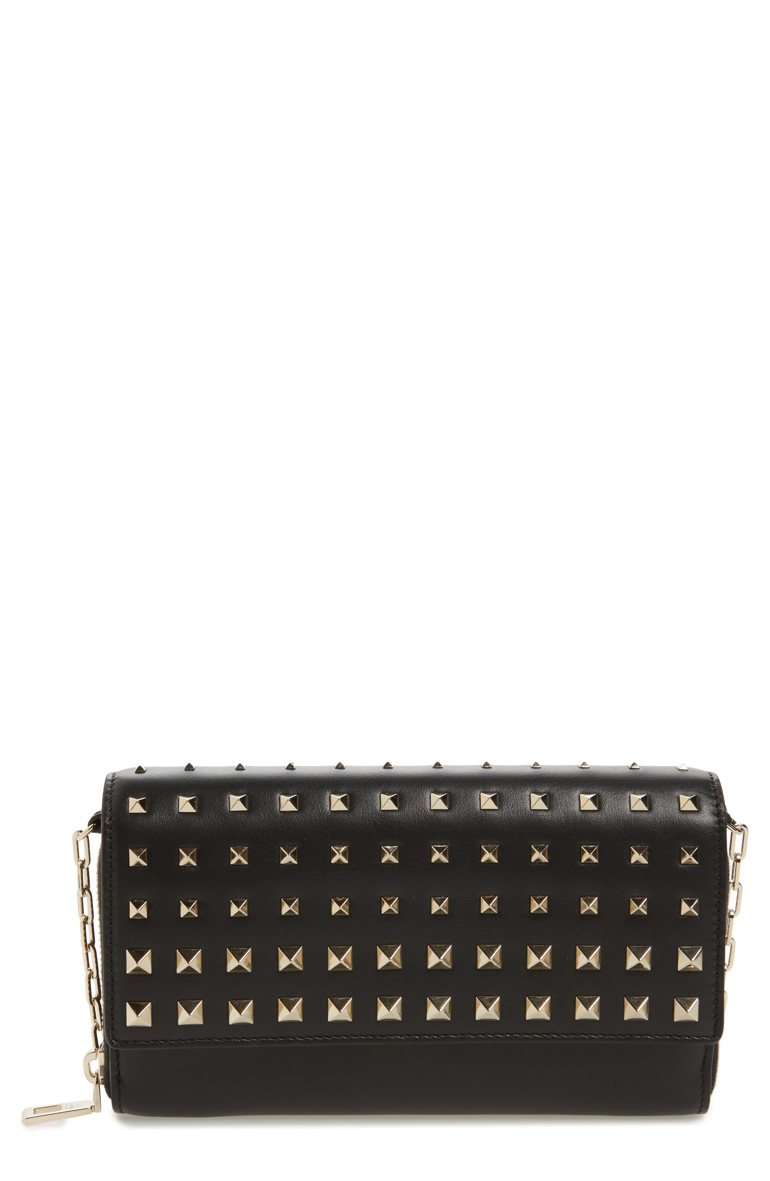 Main Image - VALENTINO GARAVANI Small Rockstud Calfskin Leather Wallet on a Chain