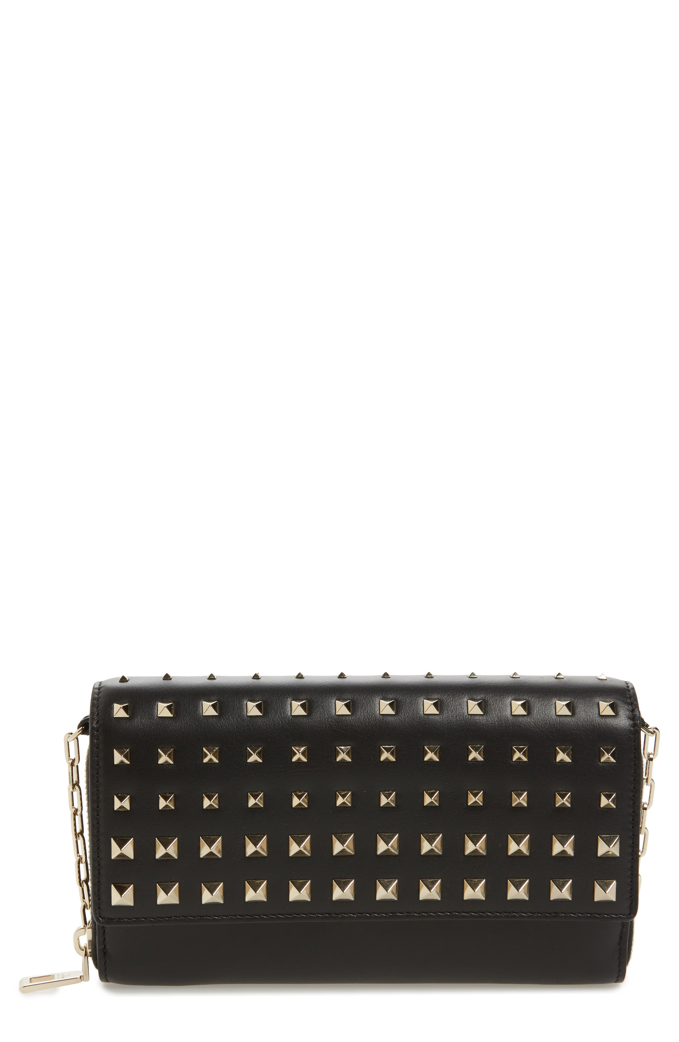 Small Rockstud Calfskin Leather Wallet on a Chain,                         Main,                         color, Nero