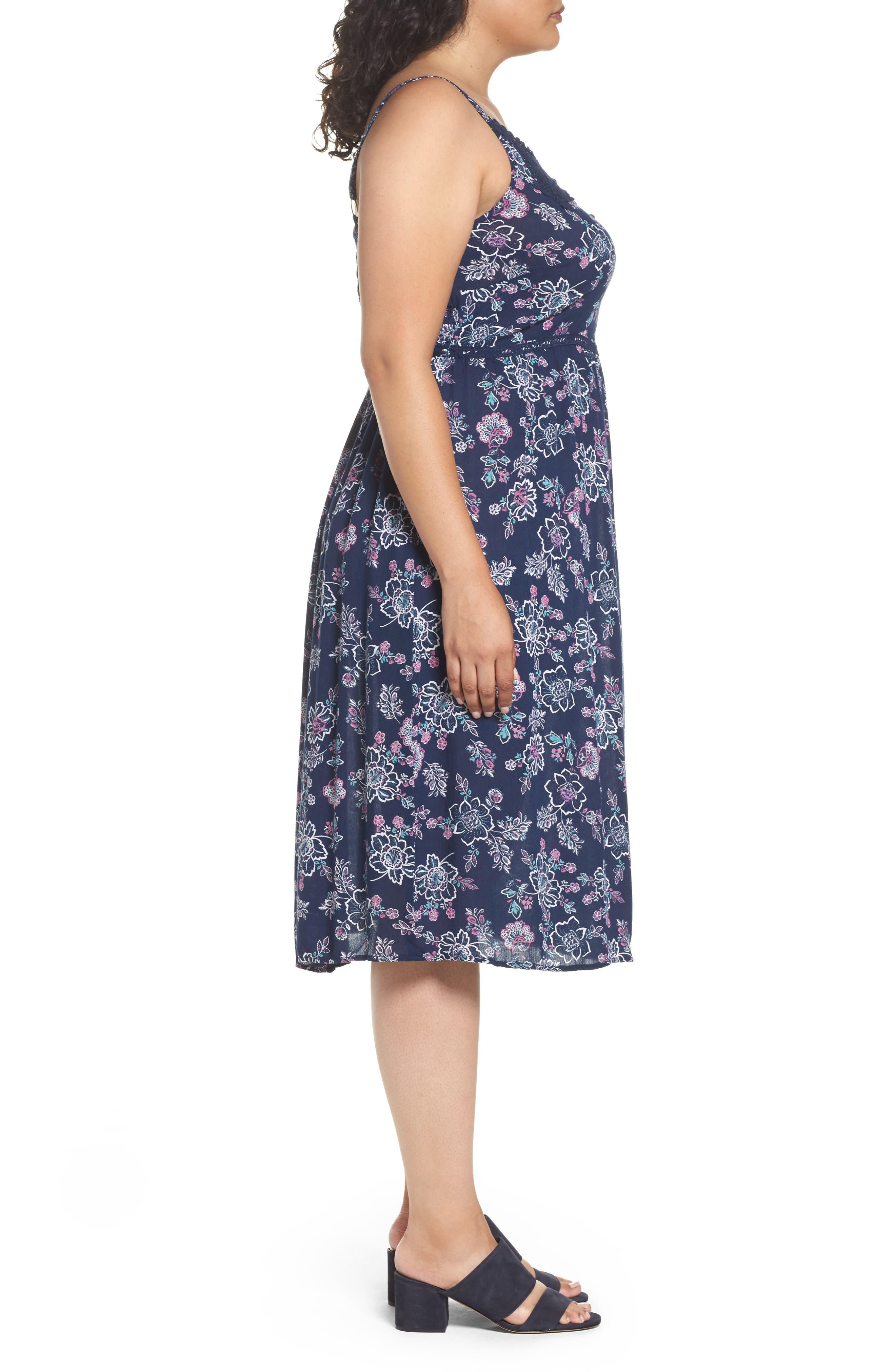 Alternate Image 3  - Evans Floral Print Crochet Trim Dress (Plus Size)