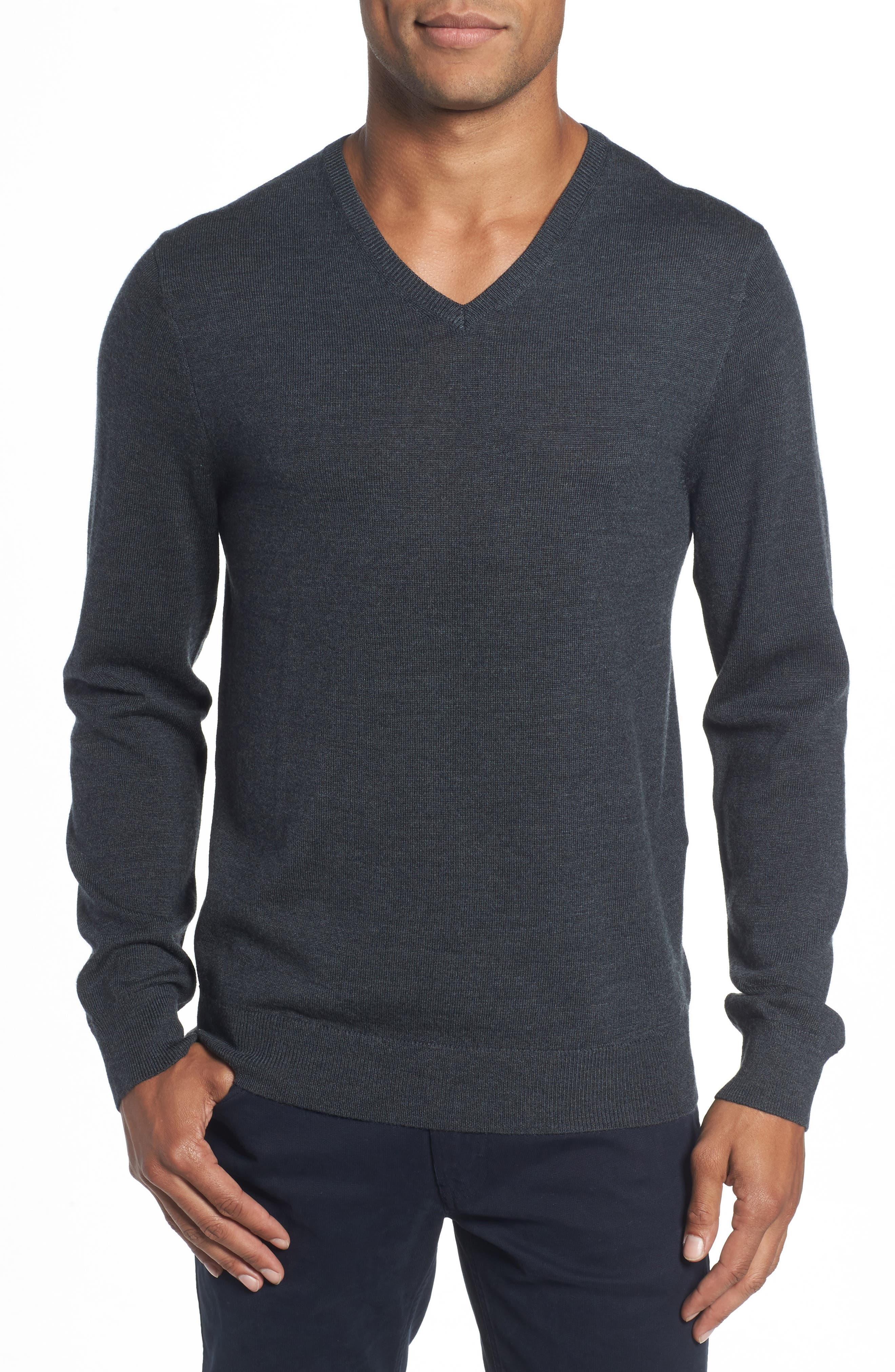 Merino V-Neck Sweater,                         Main,                         color, Charcoal