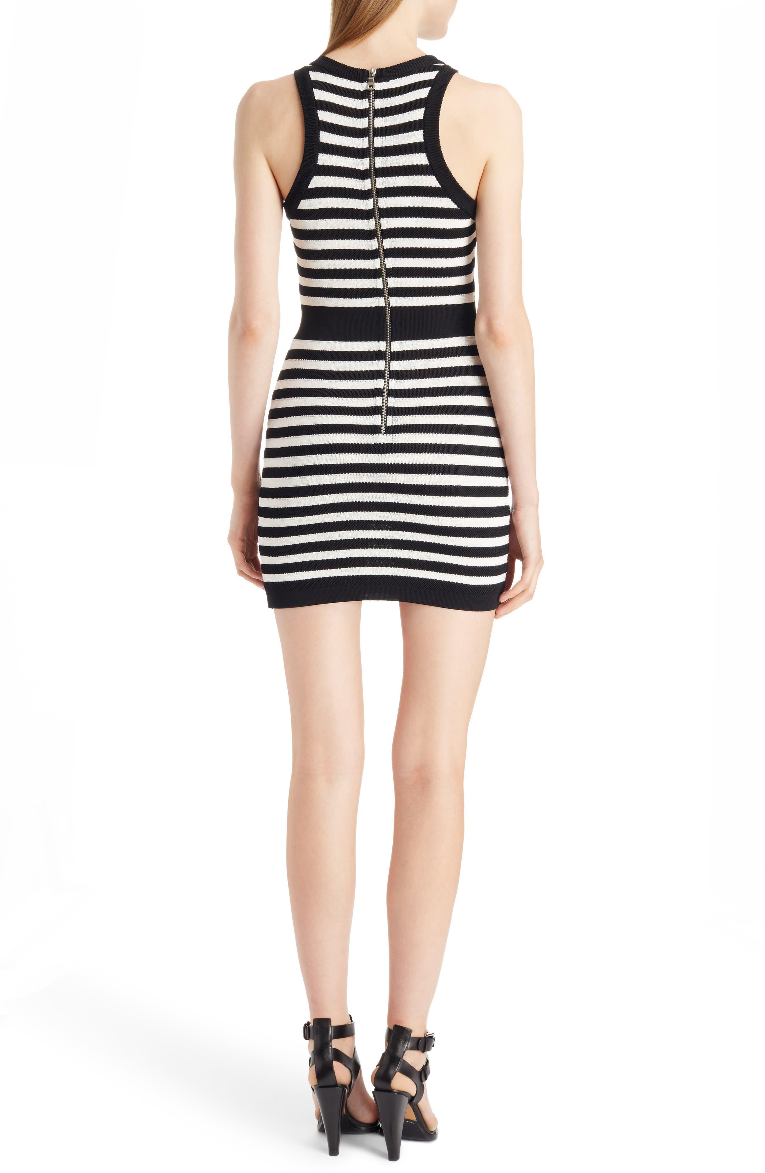 BALMAIN Striped Stretch-Knit Mini Dress, Black/White ...