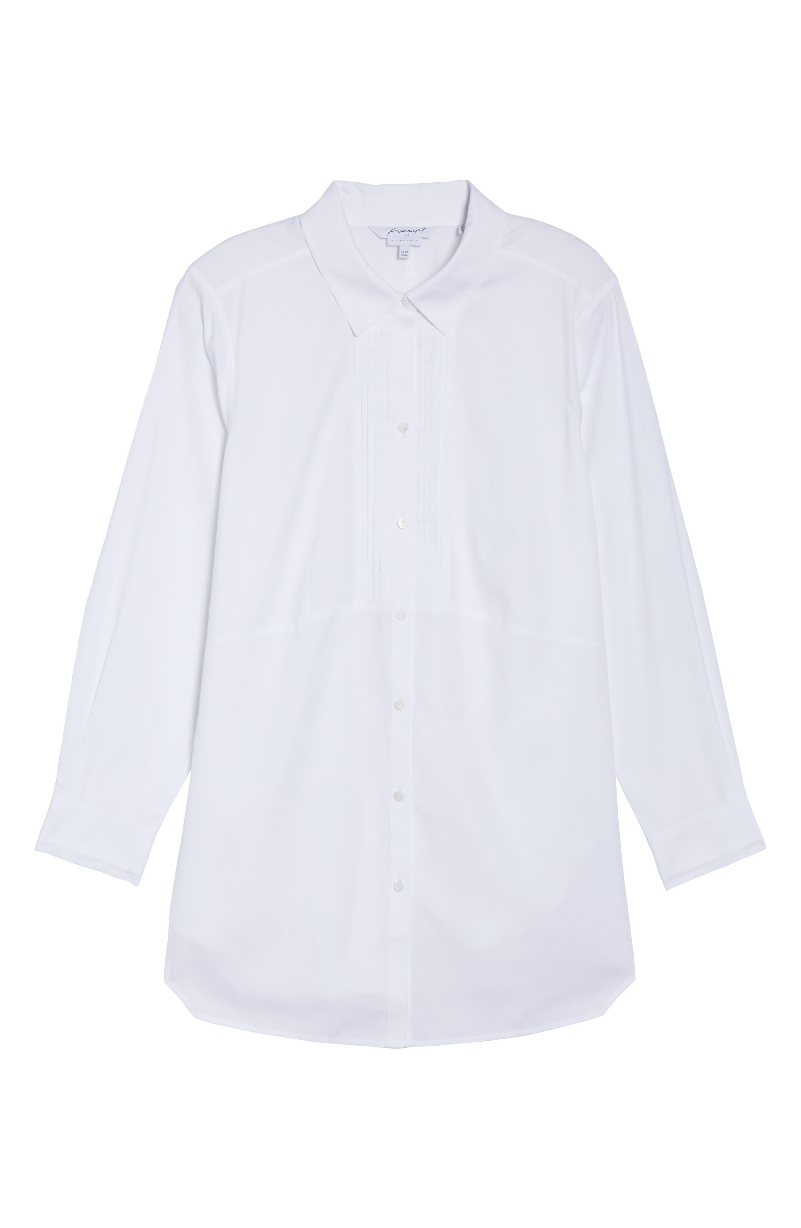 Alternate Image 6  - Foxcroft Sheri Stretch Cotton Shirt (Plus Size)