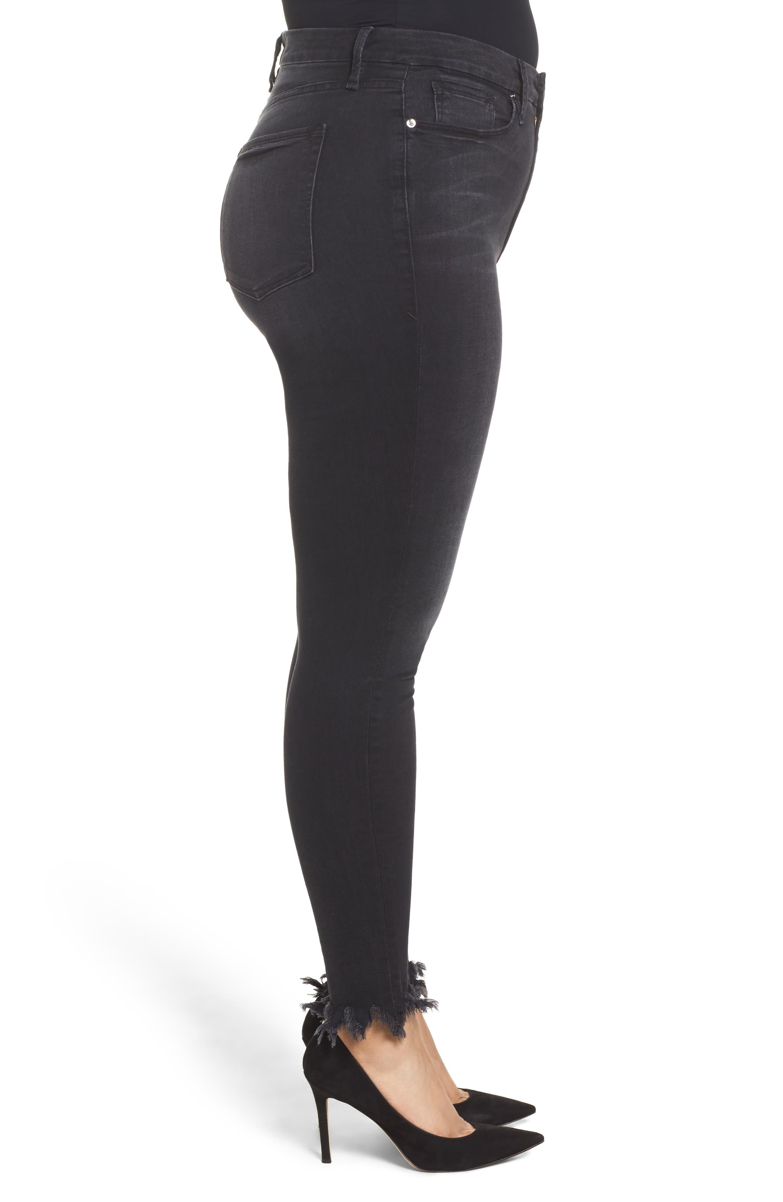 Alternate Image 6  - Good American Good Waist Fray Hem Skinny Jeans (Black 012) (Extended Sizes)