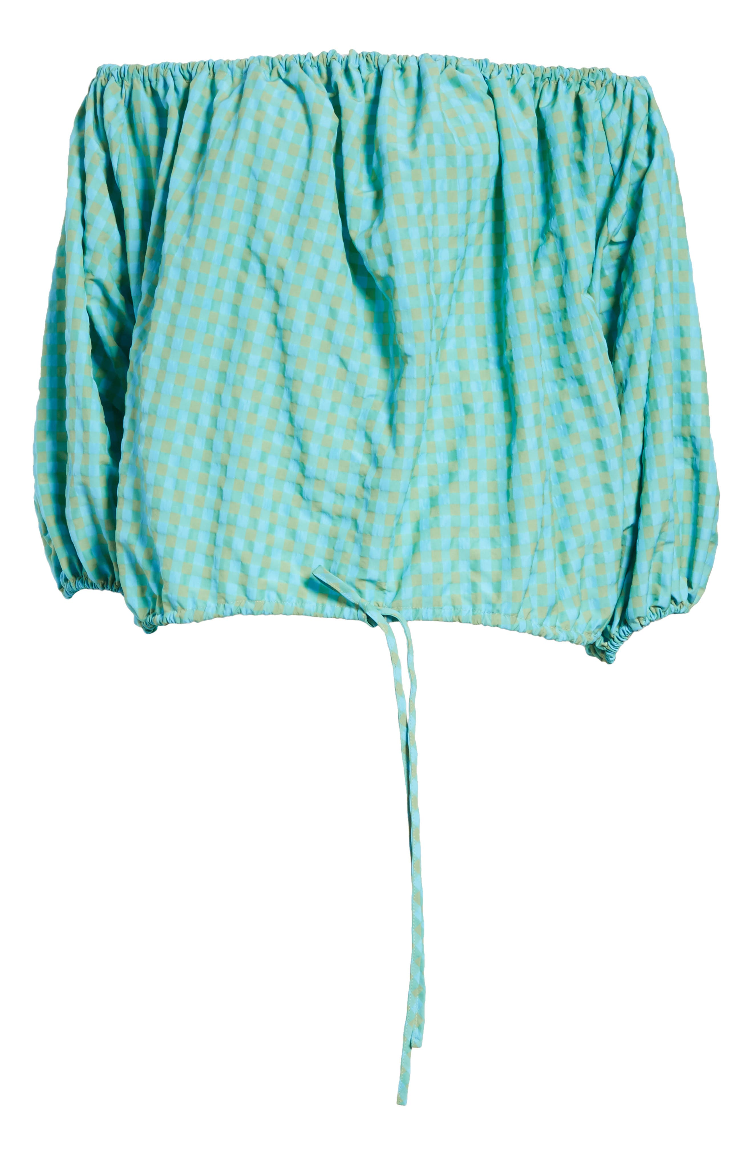 Marques'Almeida Off the Shoulder Gingham Top,                             Alternate thumbnail 6, color,                             Turquoise Gingham