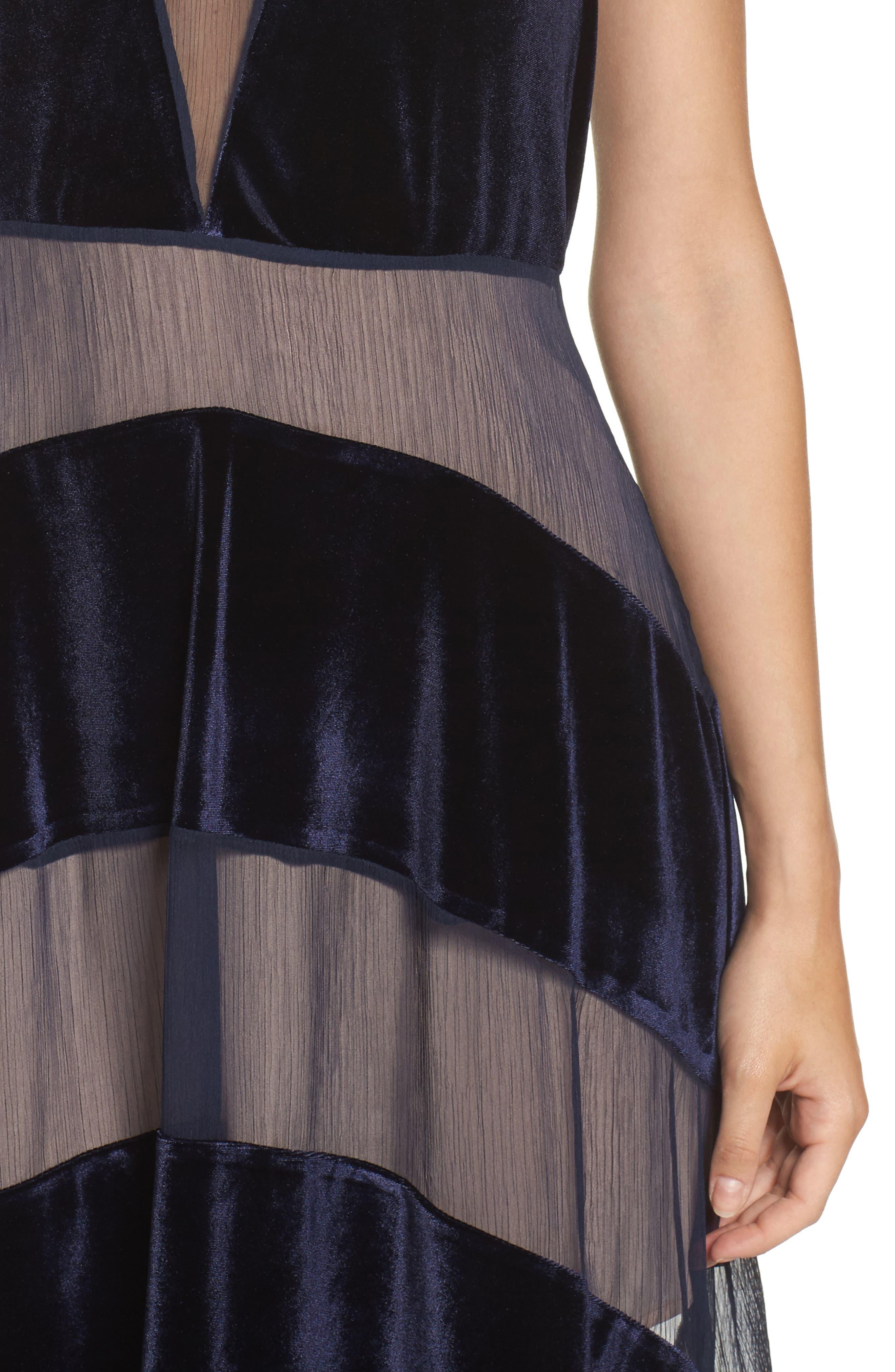 Alternate Image 4  - Foxiedox Velvet Stripe Midi Dress