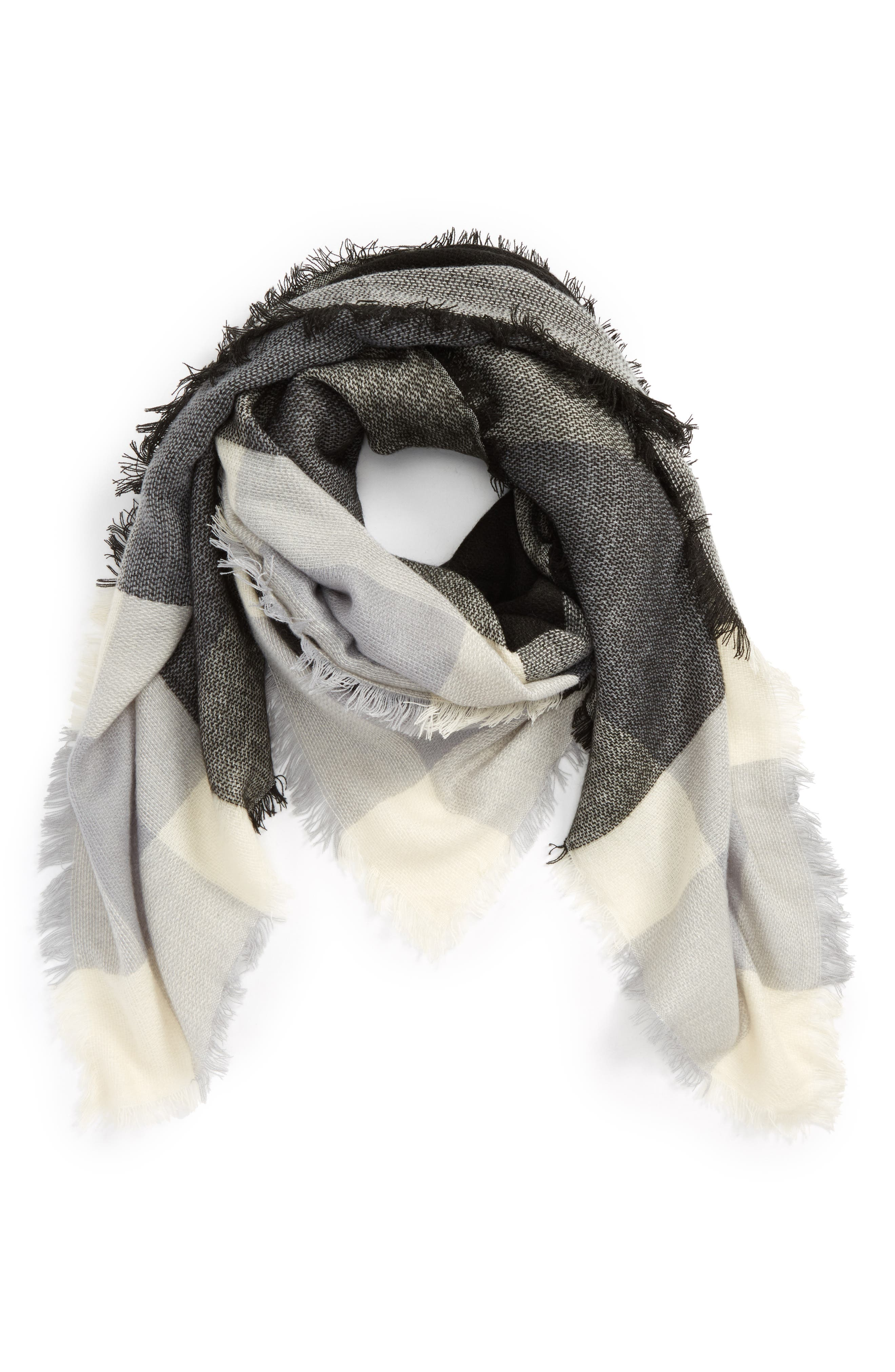 Accessory Collective Plaid Scarf,                             Main thumbnail 1, color,                             Black/ Grey