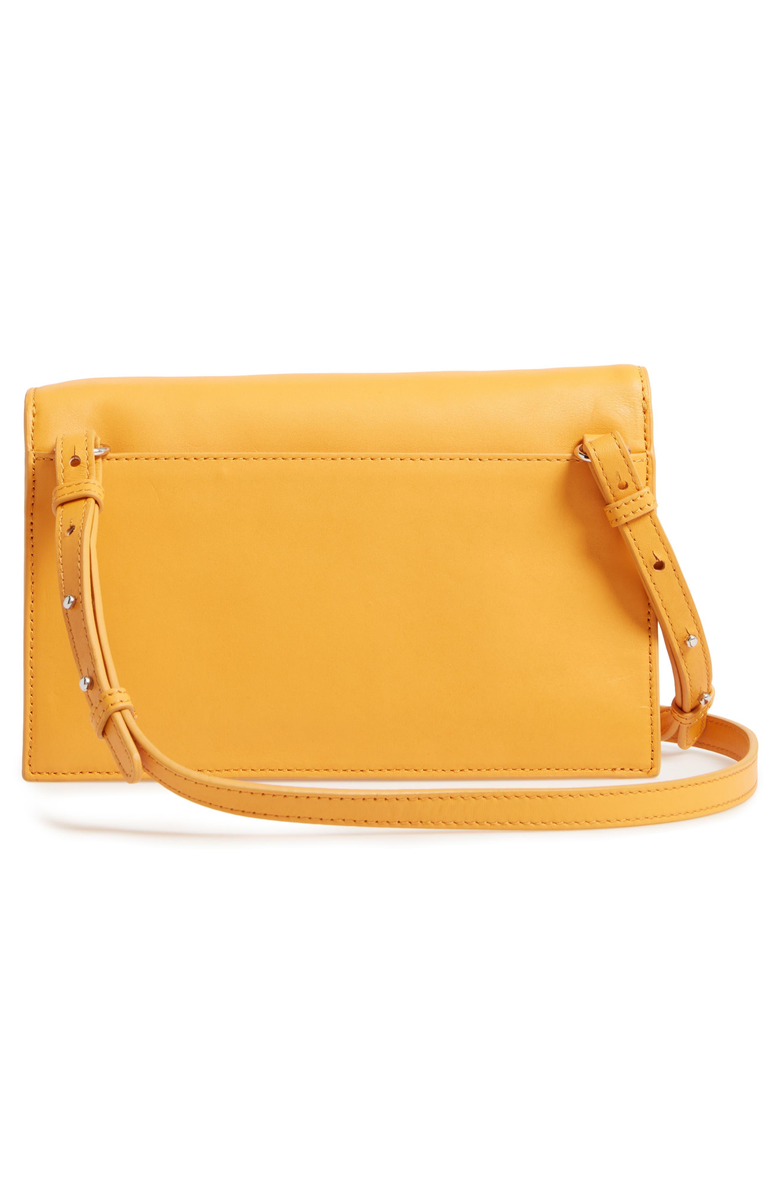 Easton Leather Envelope Crossbody Bag,                             Alternate thumbnail 3, color,                             Ochre