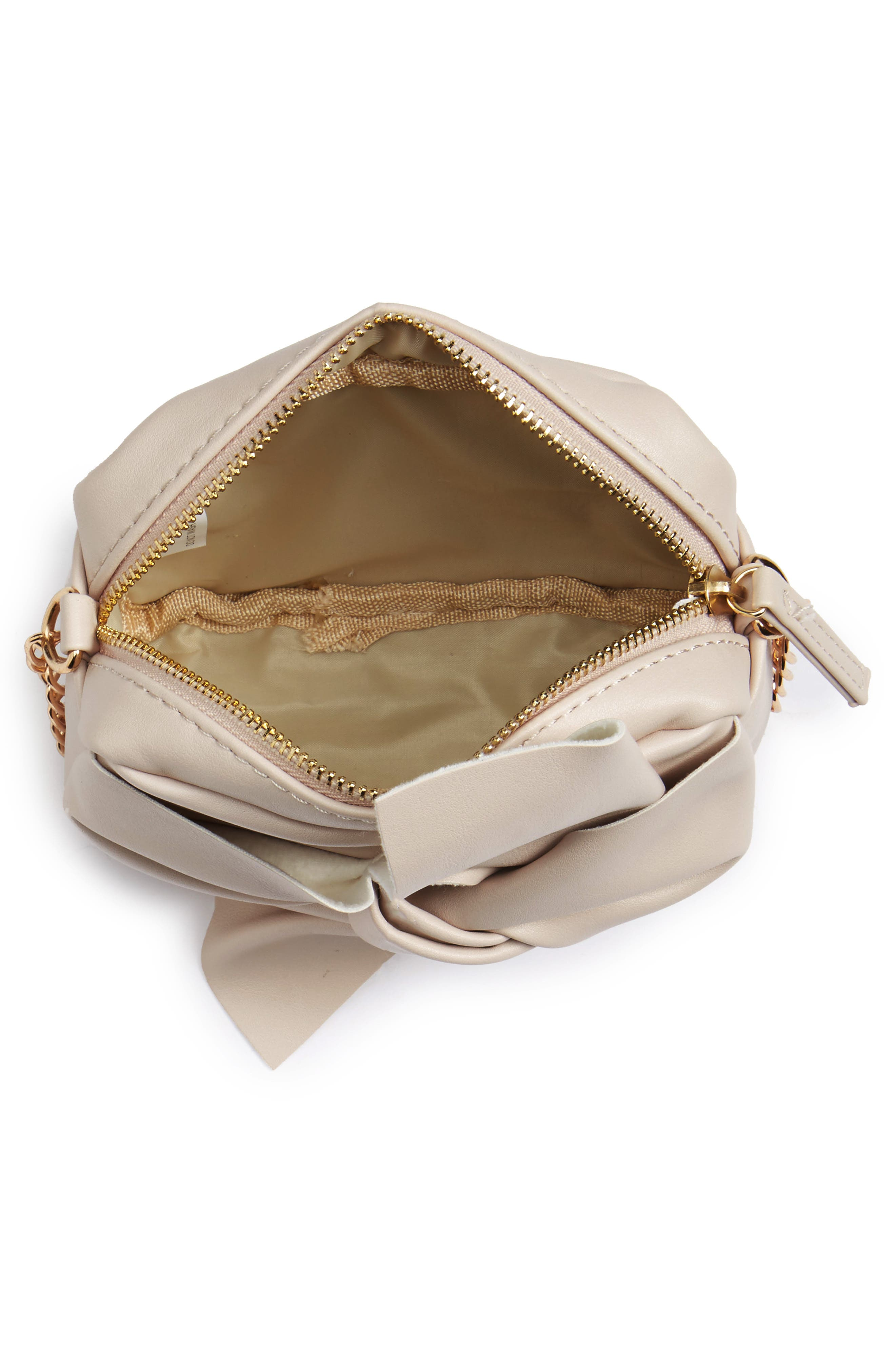 Knotted Bow Faux Leather Crossbody Bag,                             Alternate thumbnail 4, color,                             Blush
