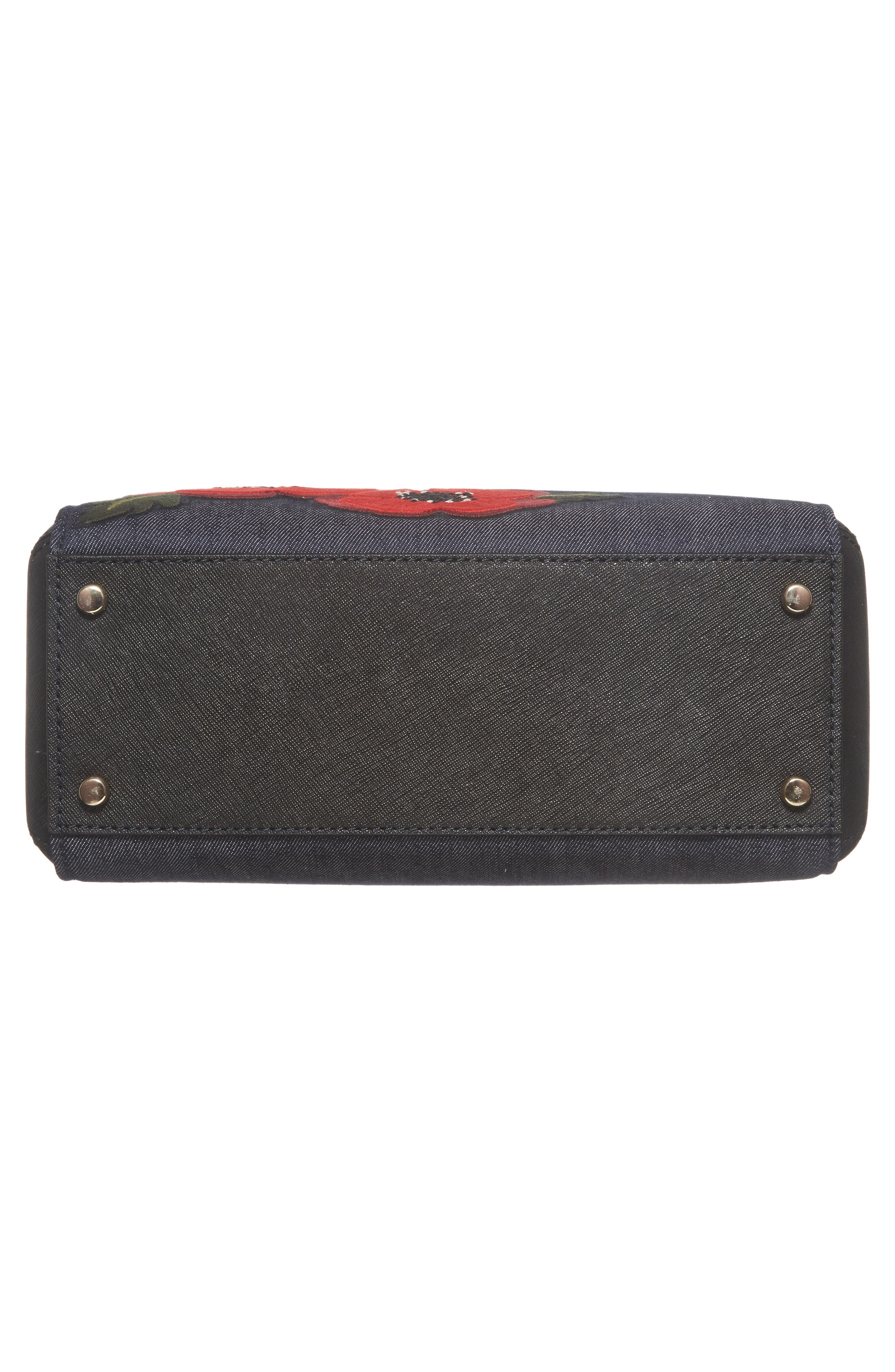 cameron street poppy large lane embroidered denim satchel,                             Alternate thumbnail 4, color,                             Port Blue