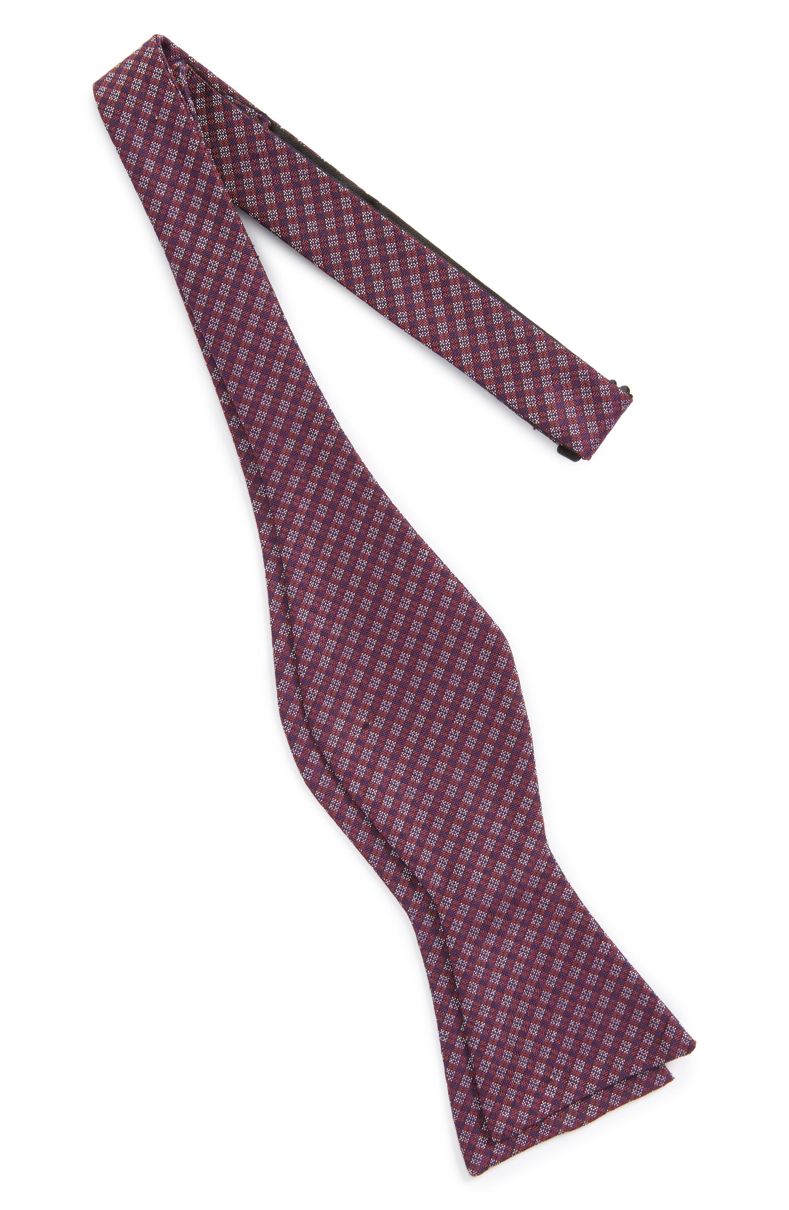 Check Silk Bow Tie,                         Main,                         color, Rust