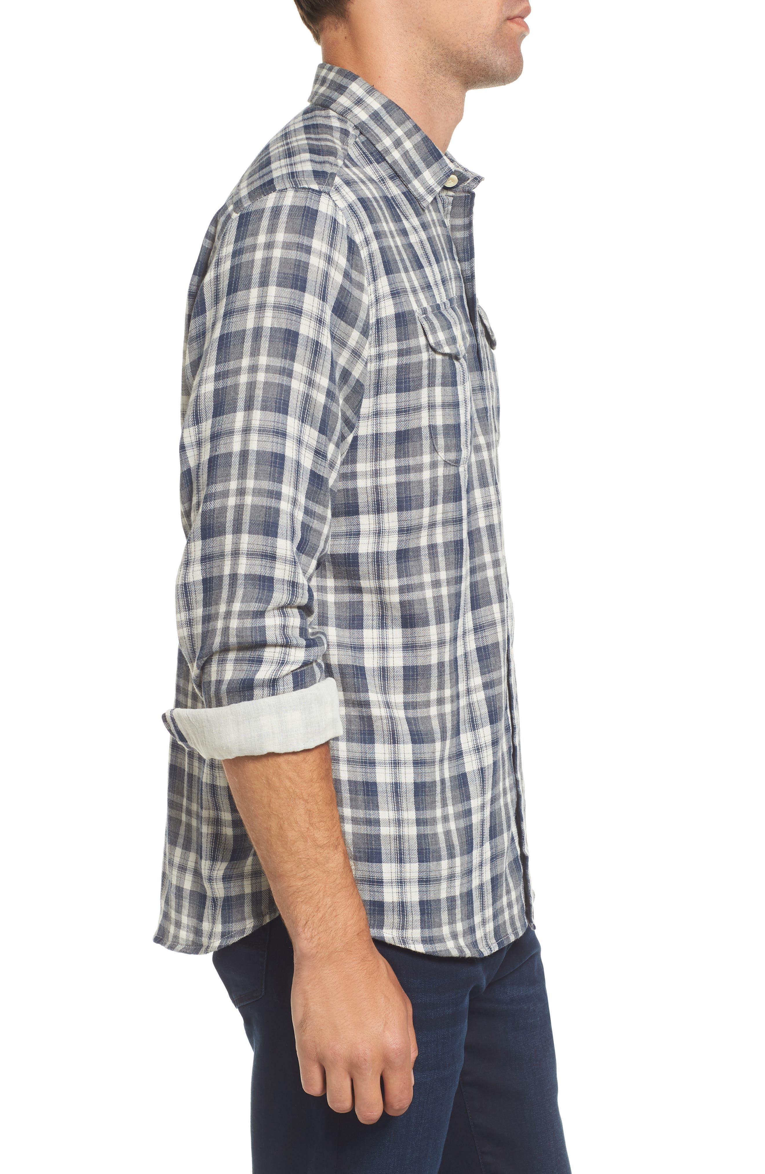 Saratoga Modern Fit Plaid Double Cloth Sport Shirt,                             Alternate thumbnail 3, color,                             Charcoal Navy Stone