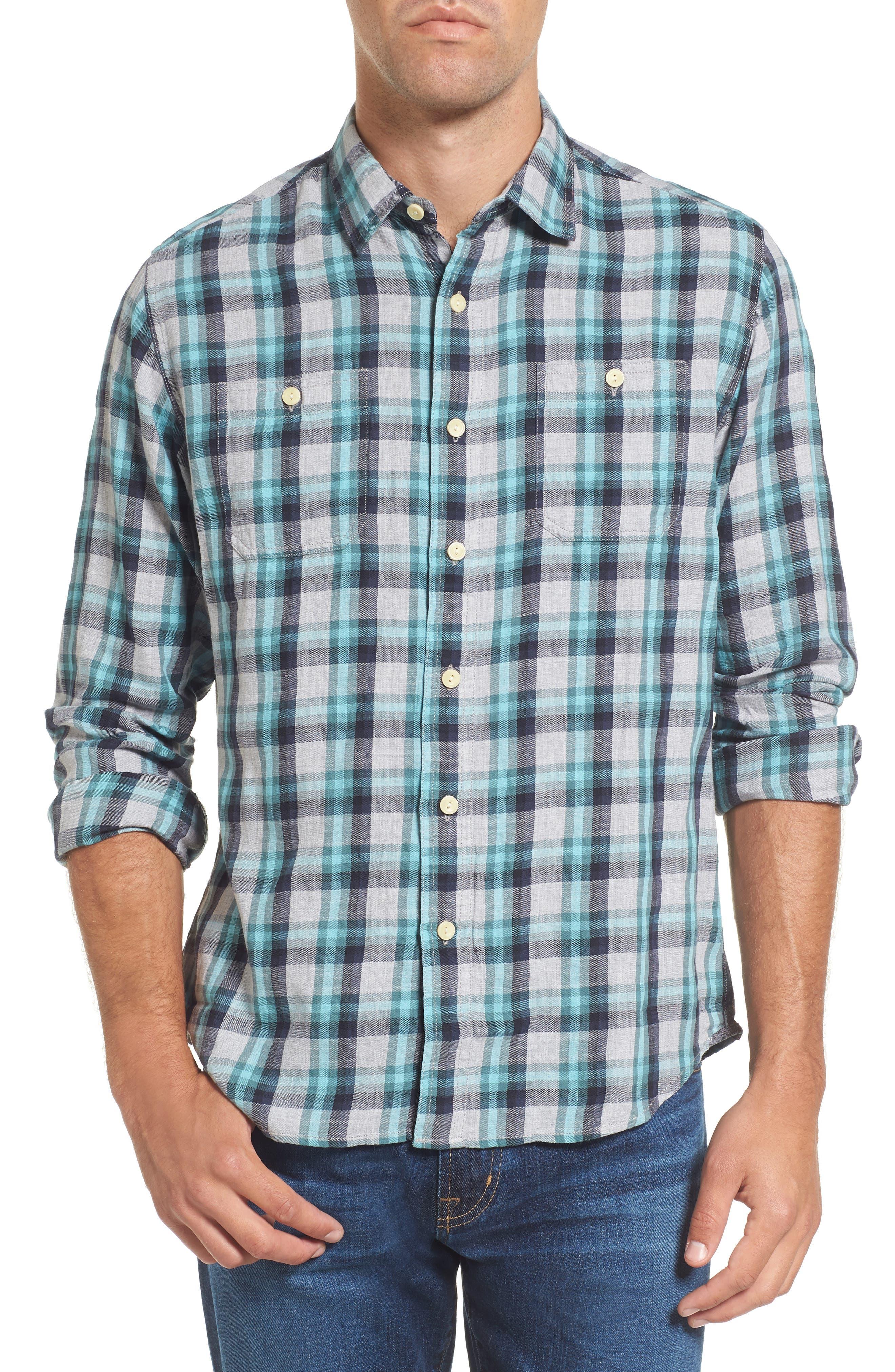 Trevor Modern Fit Slub Twill Sport Shirt,                         Main,                         color, Seafoam Gray