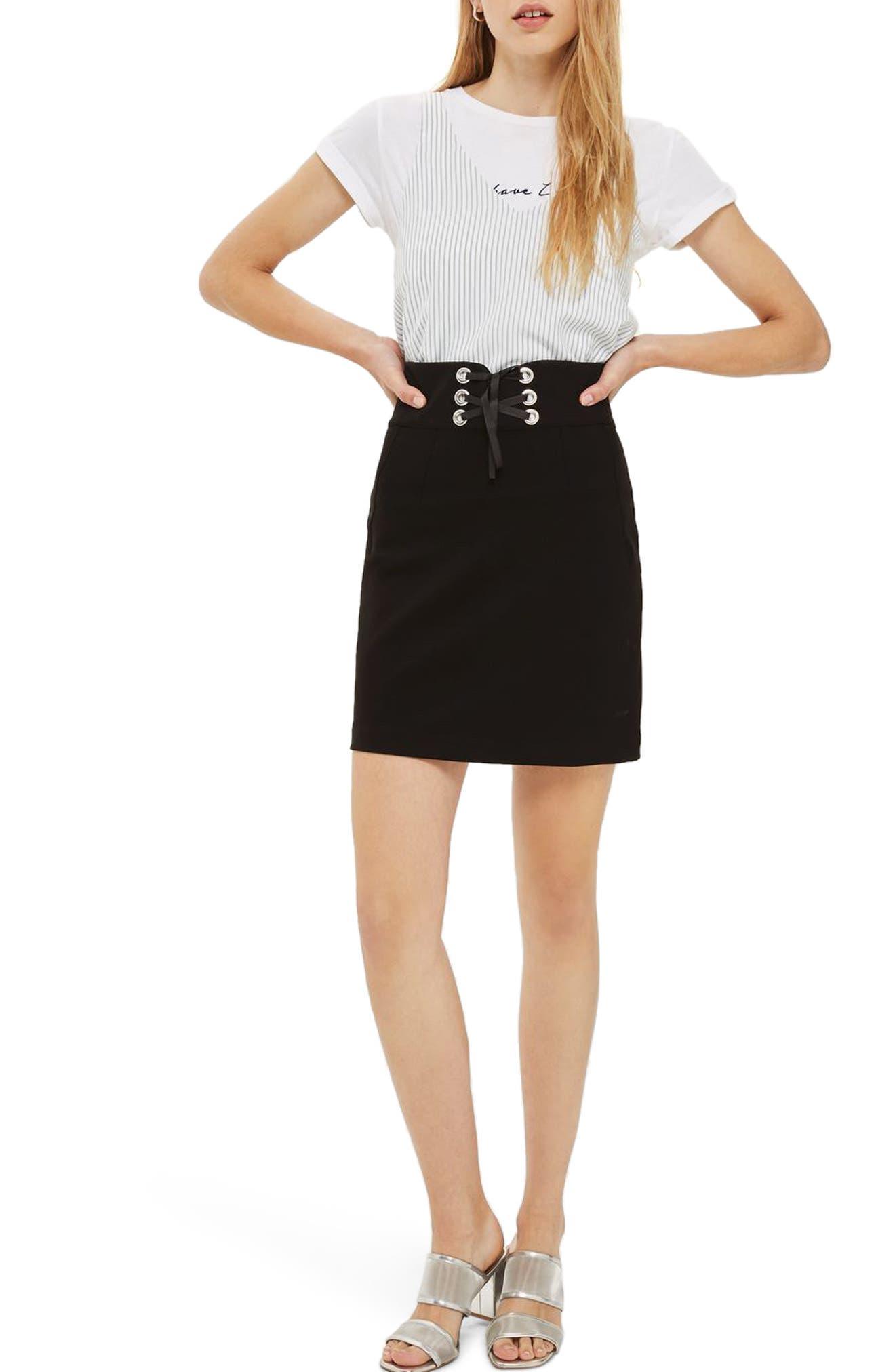 Alternate Image 1 Selected - Topshop Corset Waist Miniskirt (Regular & Petite)