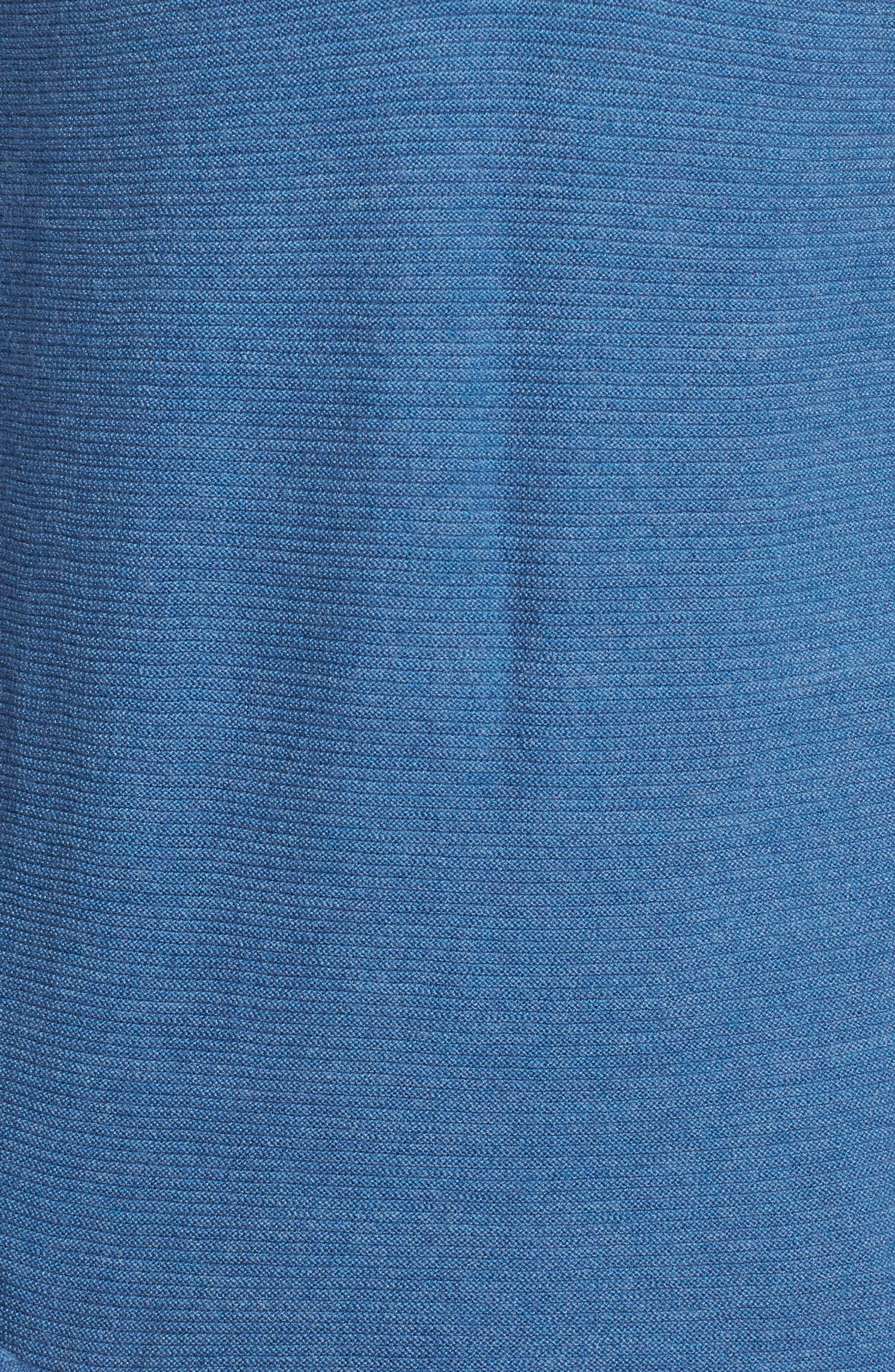 Slim Fit Merino Long Sleeve Henley Sweater,                             Alternate thumbnail 5, color,                             Heather Blue