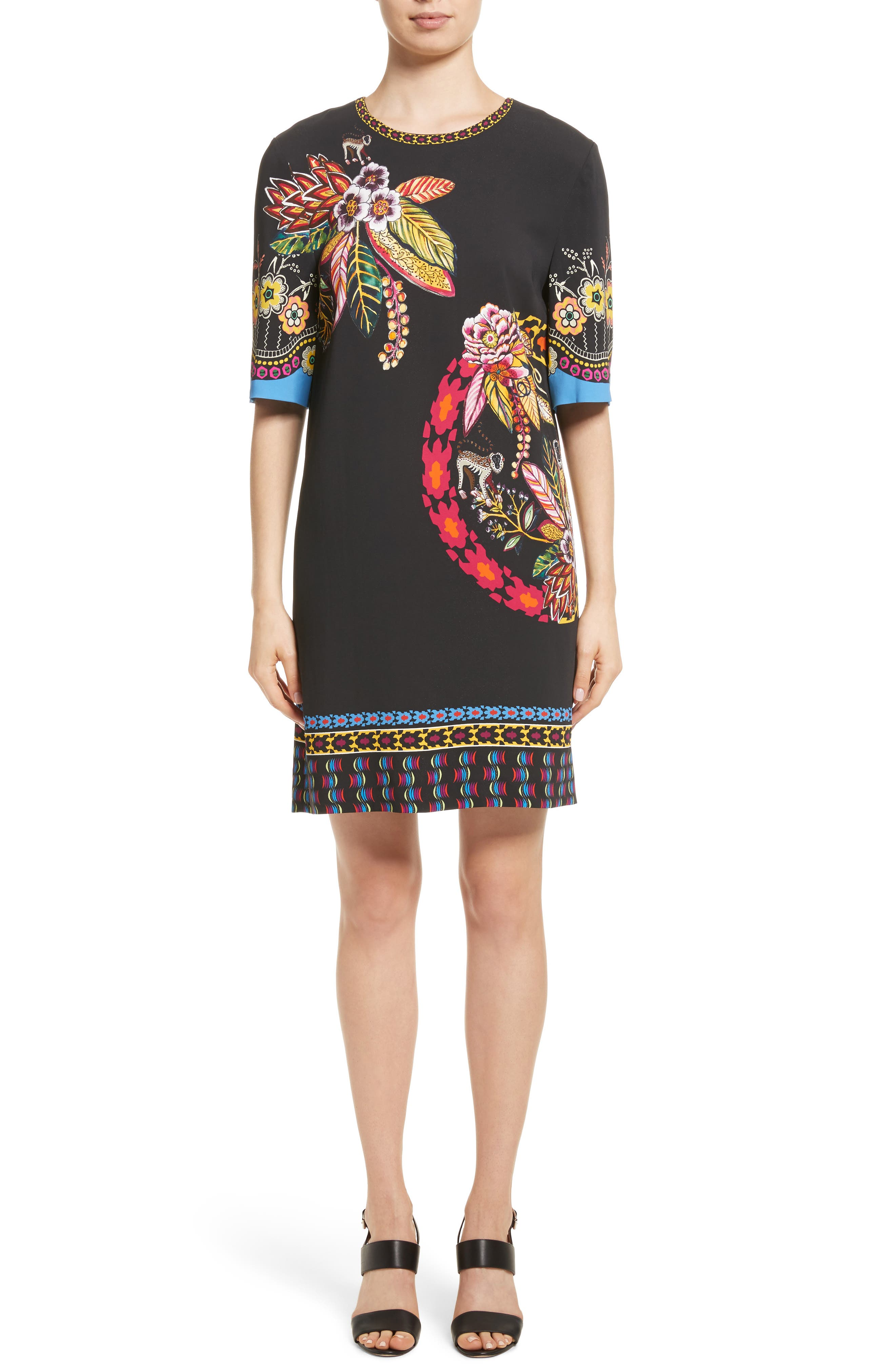 Floral Jungle & Animal Print Dress,                         Main,                         color, Black