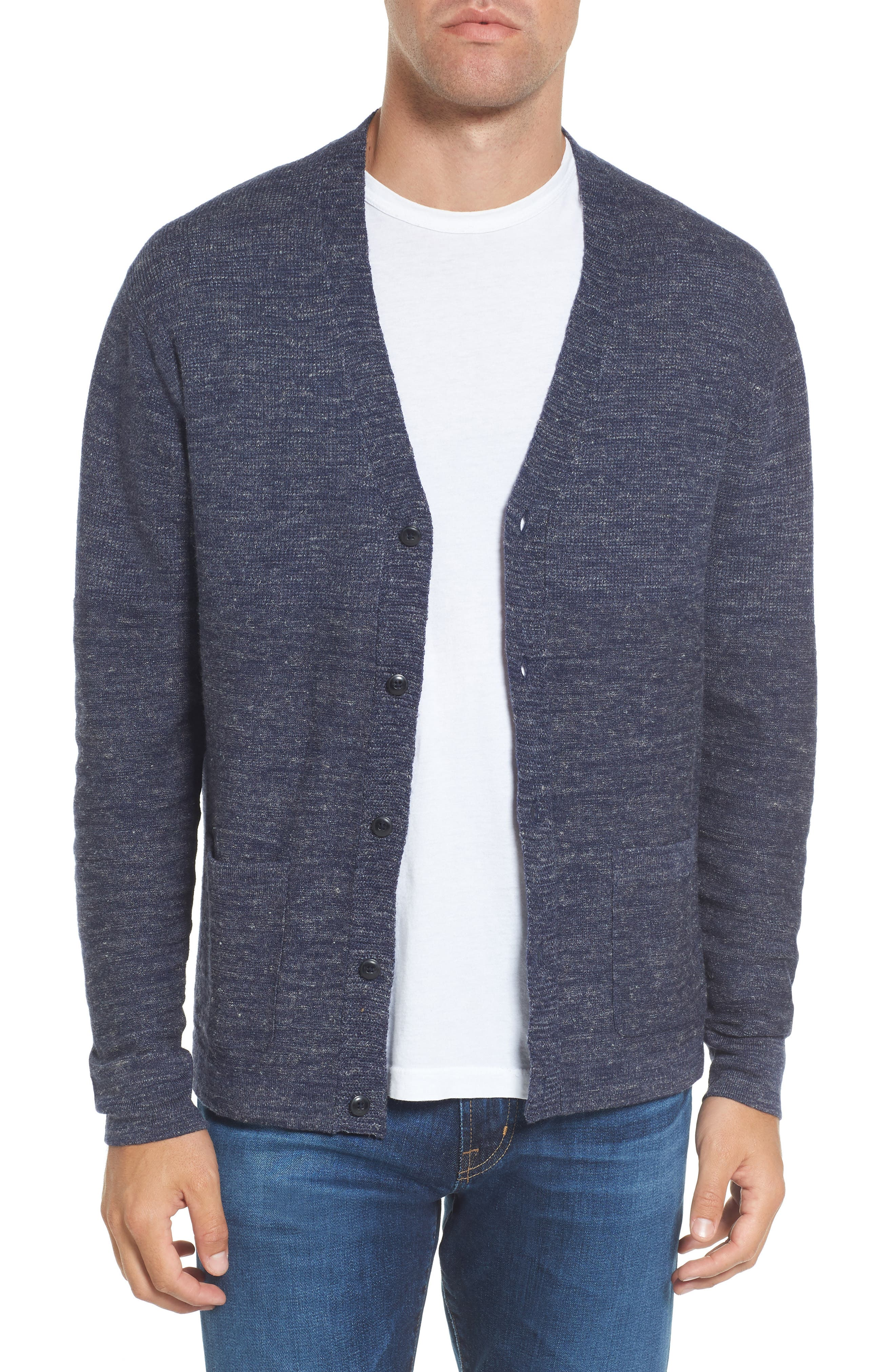 Wadsworth Modern Fit Wool & Linen Cardigan,                         Main,                         color, Navy