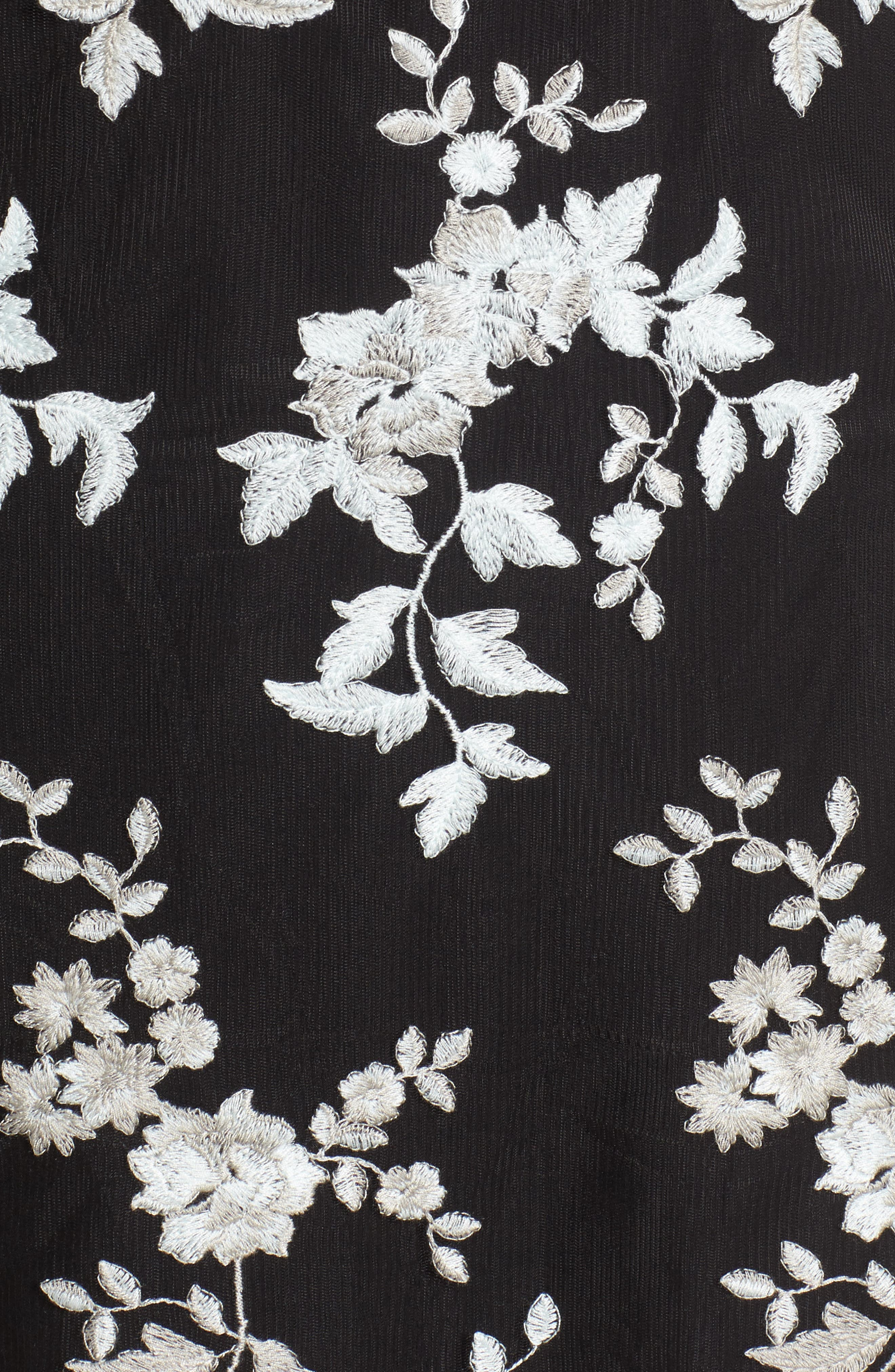 Romy Choker Mesh Minidress,                             Alternate thumbnail 5, color,                             Black/ Sage Embroidery