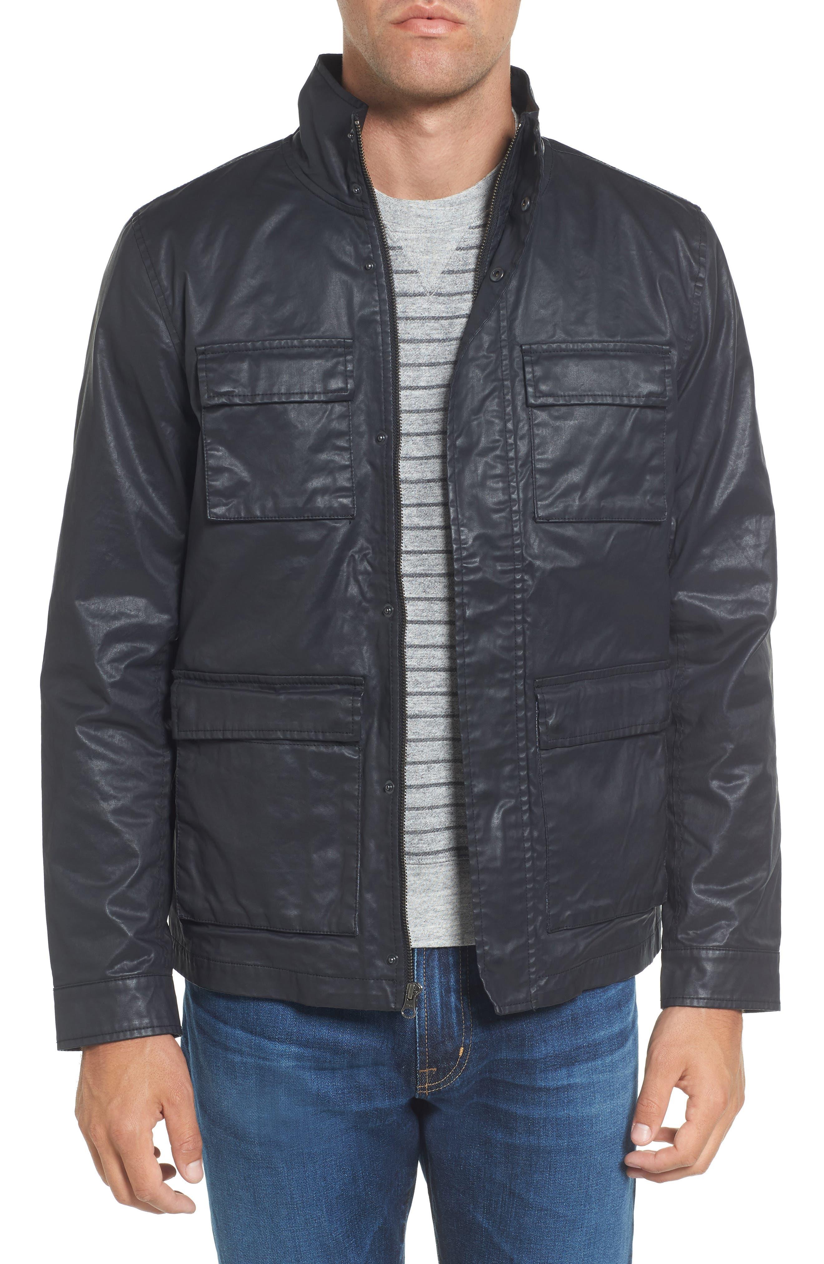 Edgeware Modern Fit Coated Moto Jacket,                             Main thumbnail 1, color,                             Black