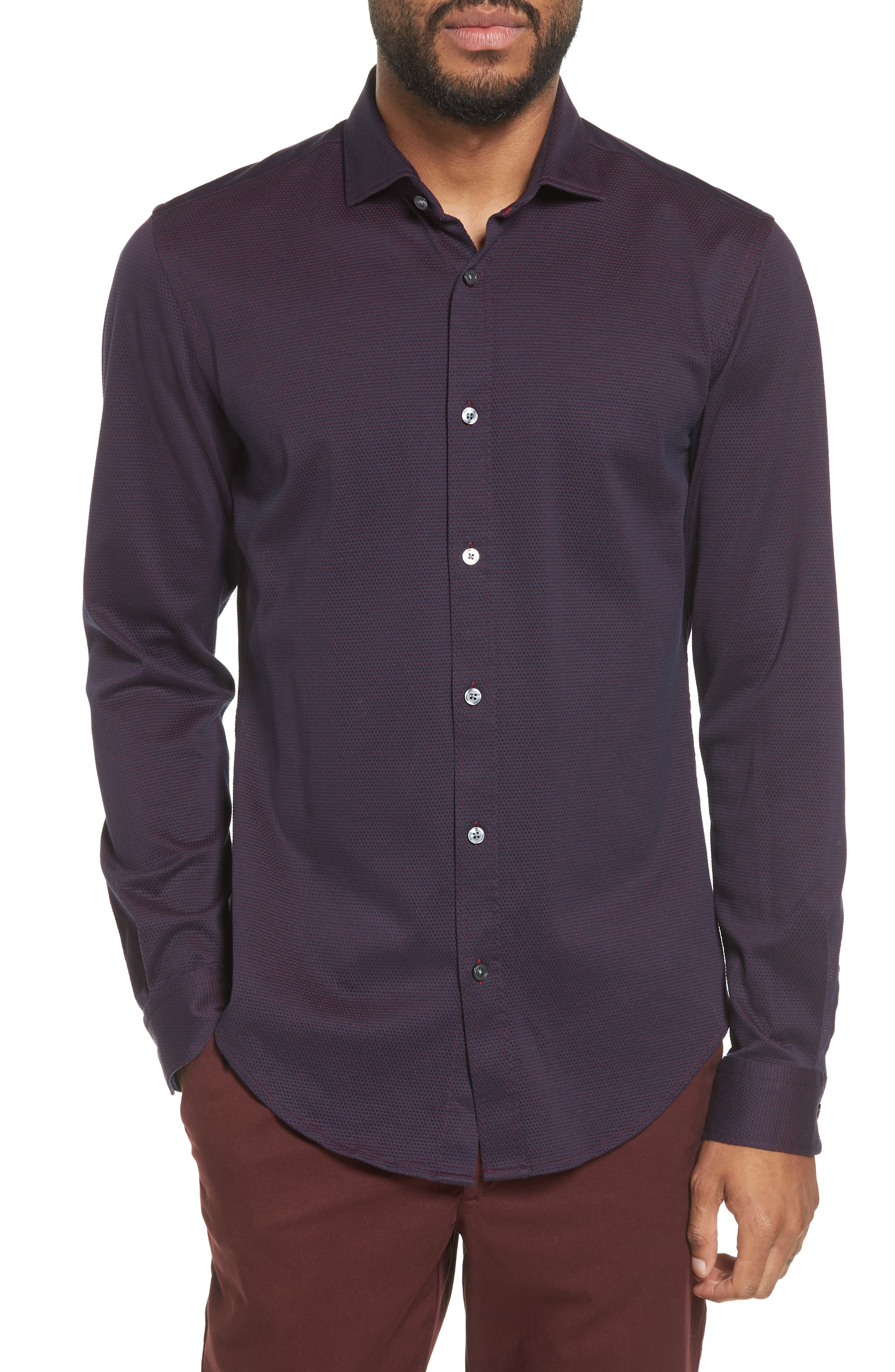 Ridley Slim Fit Jersey Sport Shirt,                         Main,                         color, Navy
