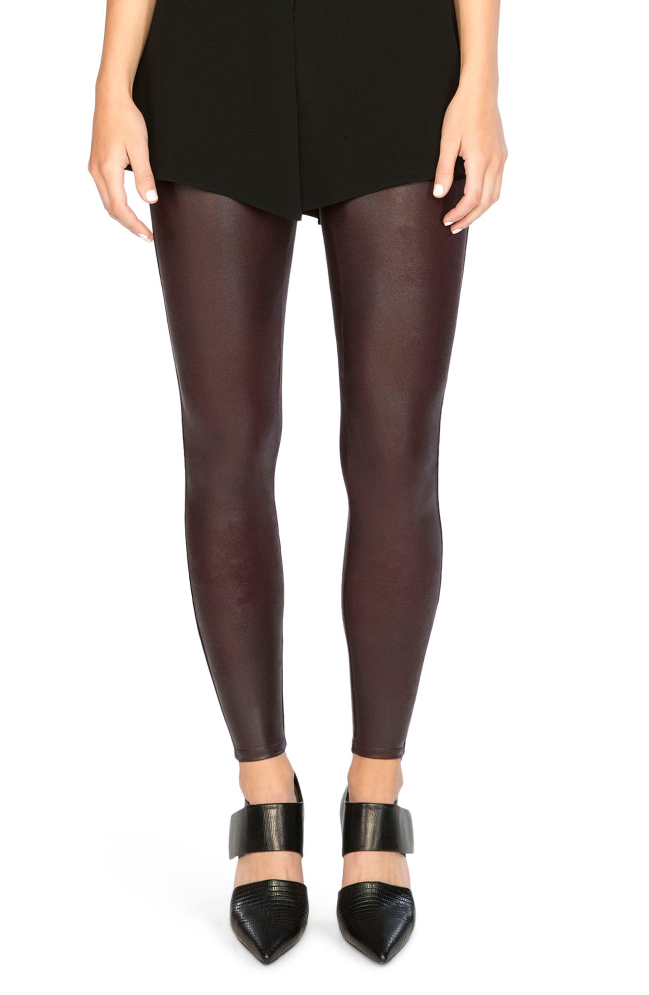 Faux Leather Leggings,                         Main,                         color, Wine