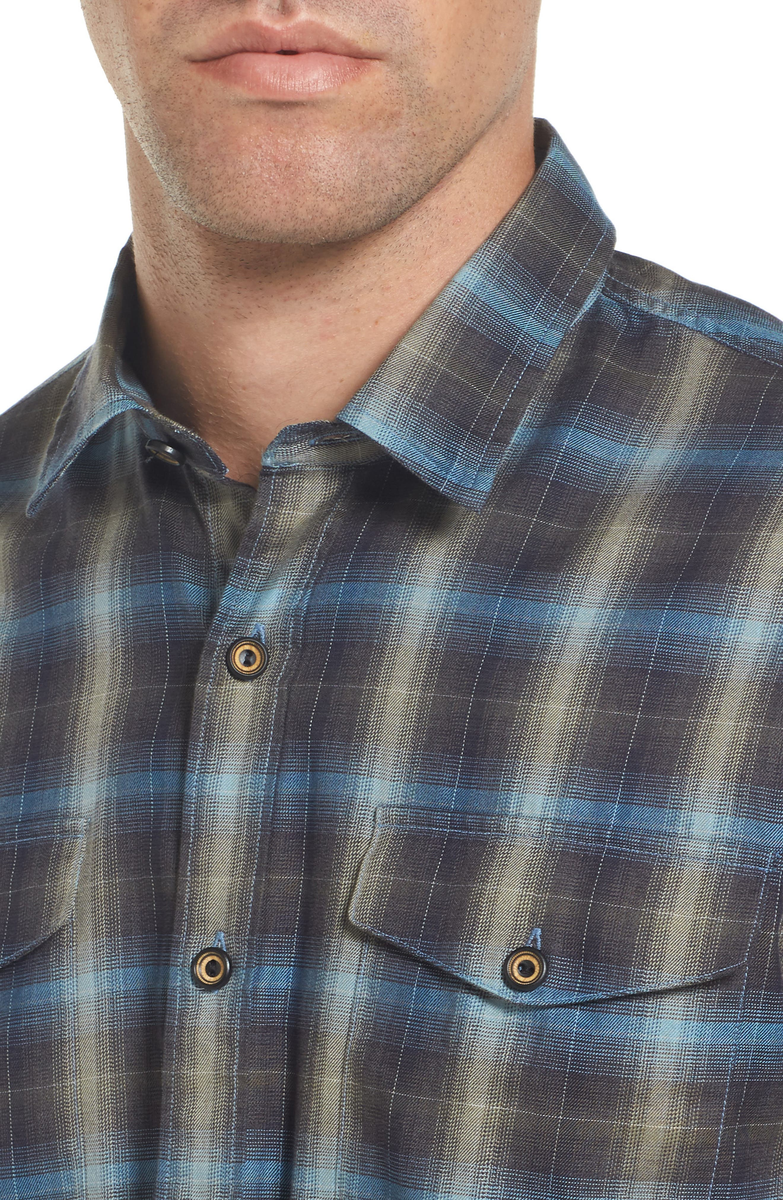 Walnut Plaid Garment Washed Flannel Shirt,                             Alternate thumbnail 4, color,                             Forest