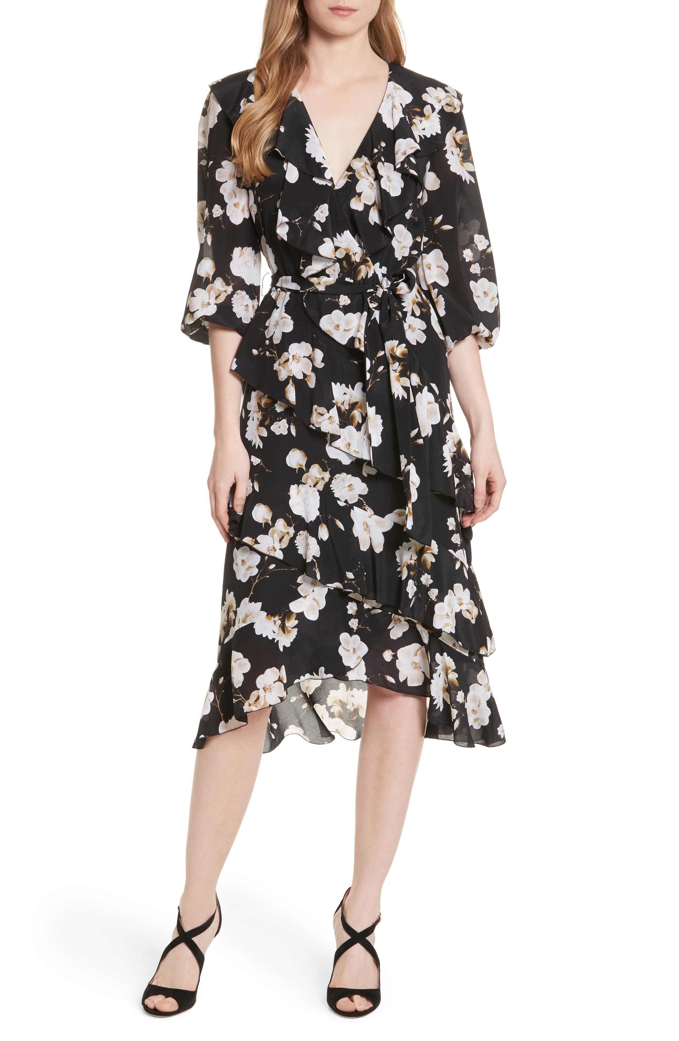Alice + Olivia Tie Waist Ruffle Midi Dress