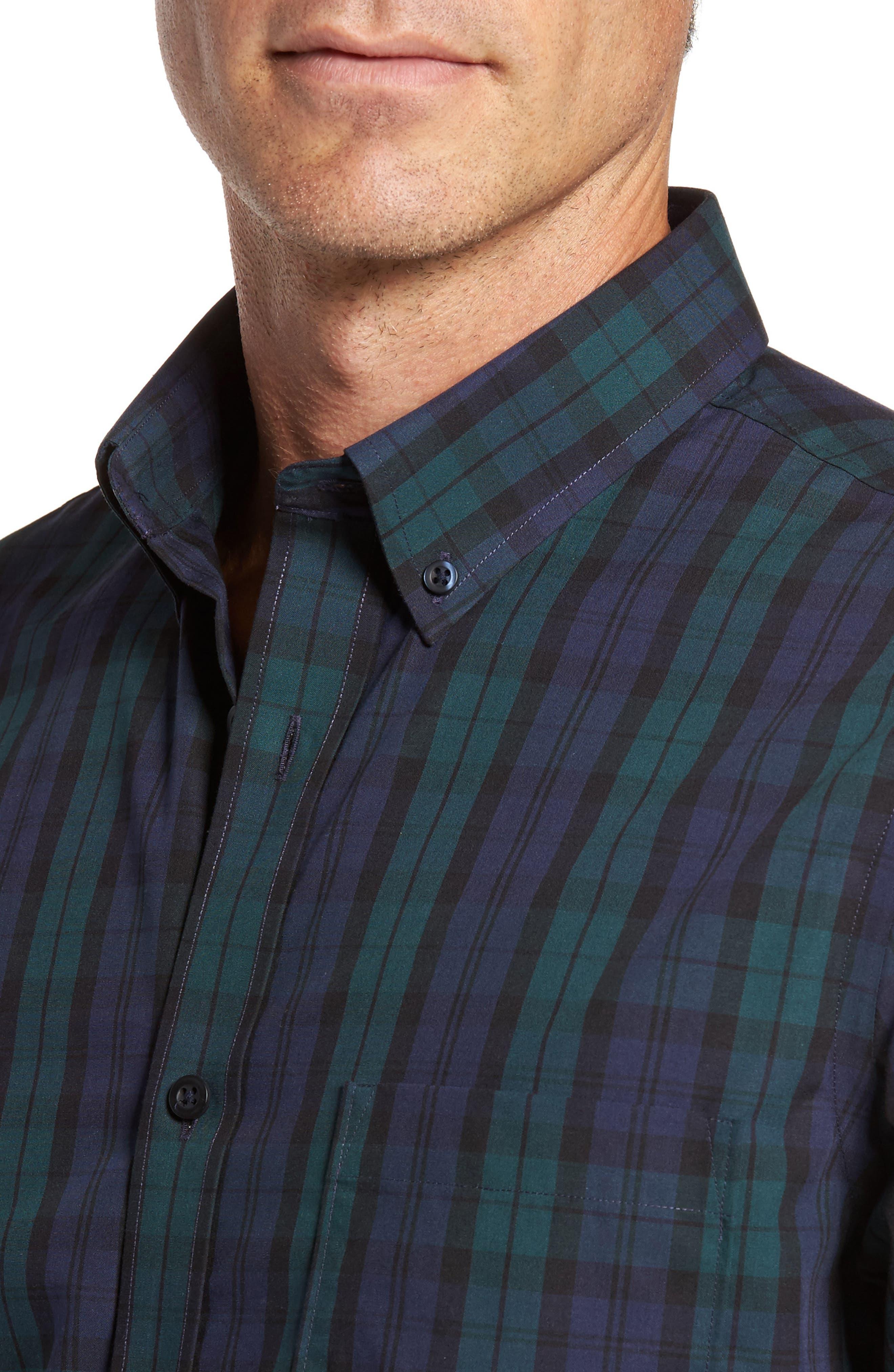 Regular Fit Non-Iron Plaid Sport Shirt,                             Alternate thumbnail 4, color,                             Green Bug Navy Tartan