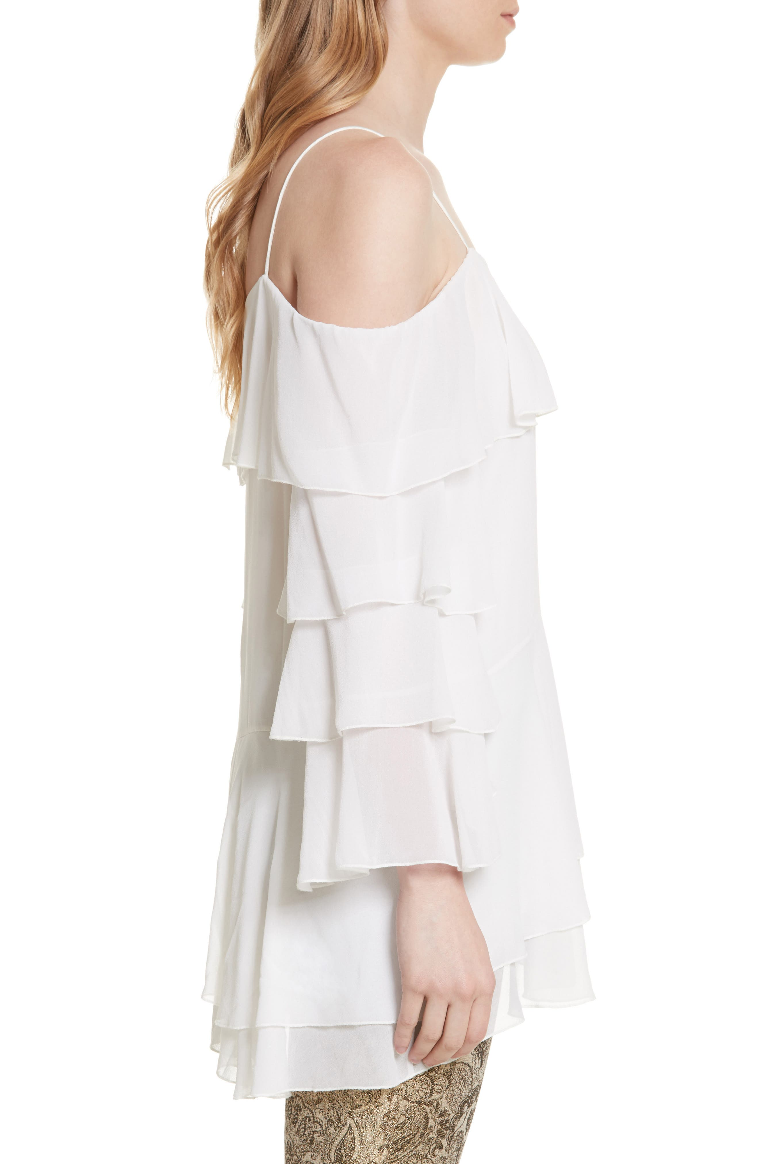 Alternate Image 3  - Alice + Olivia Lexia Lyrd Cold Shoulder Ruffle Silk Top