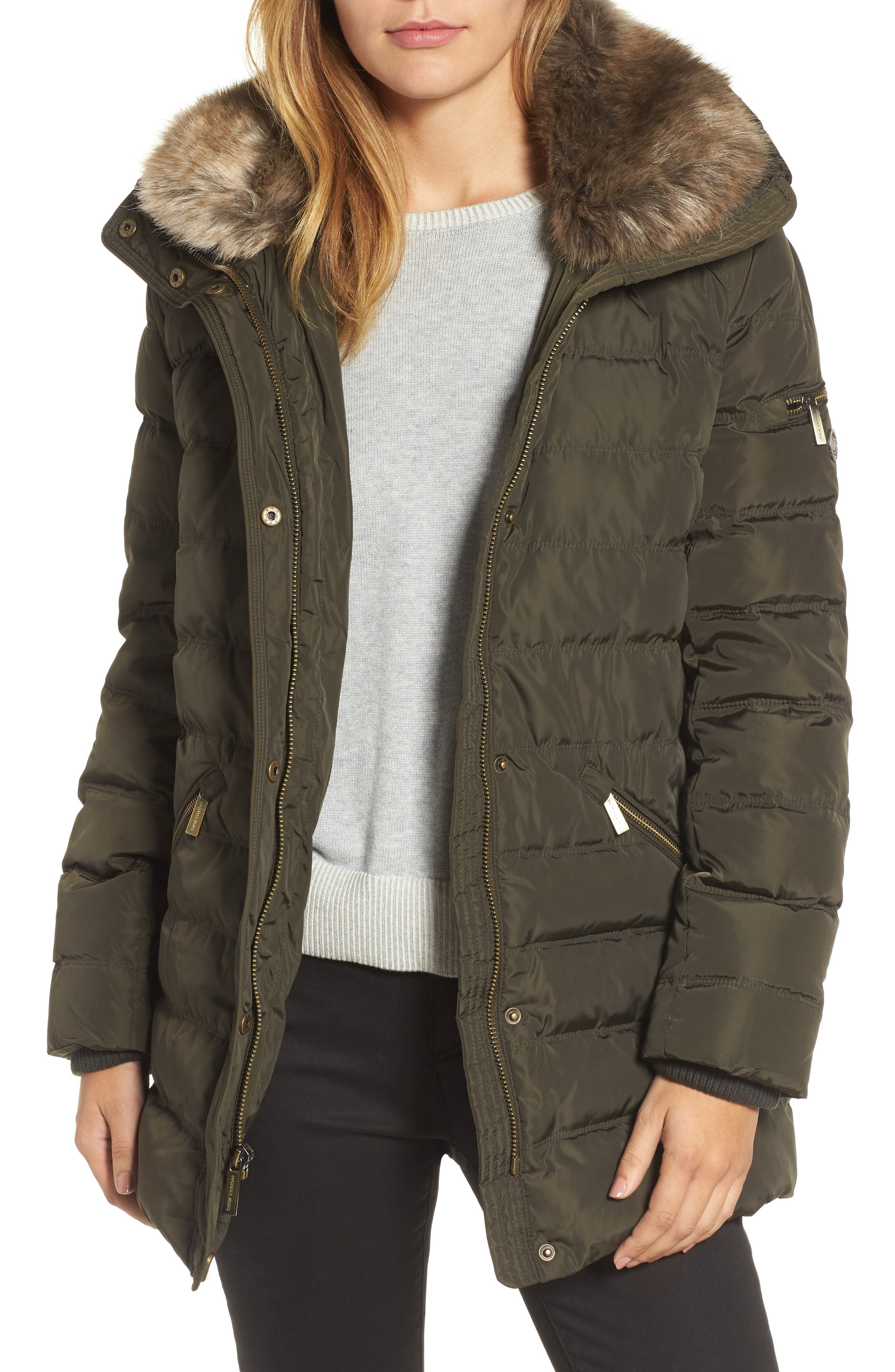 MICHAEL Michael Kors Hooded Coat with Faux Fur Trim