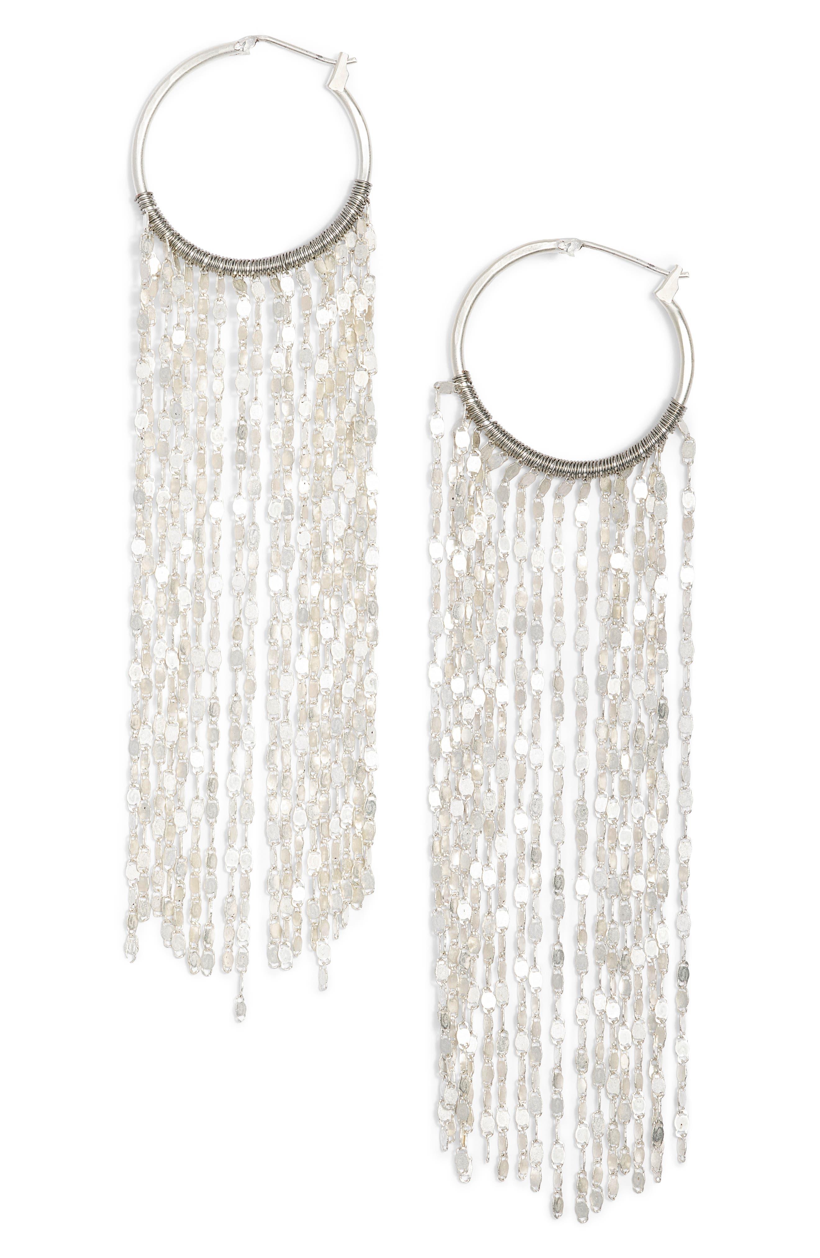 Waterfall Hoop Earrings,                         Main,                         color, Silver