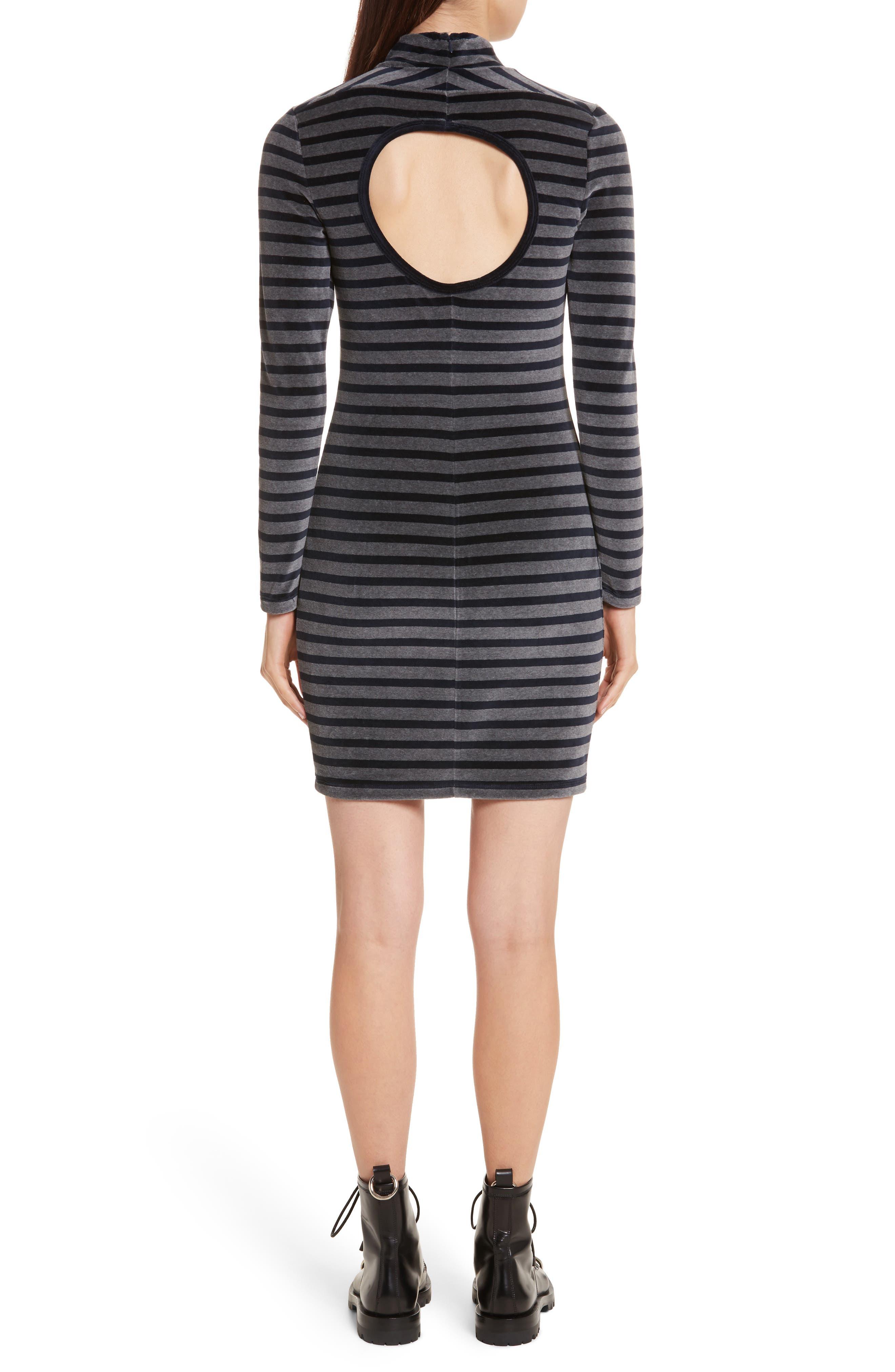 Alternate Image 2  - T by Alexander Wang Stripe Velour Turtleneck Dress